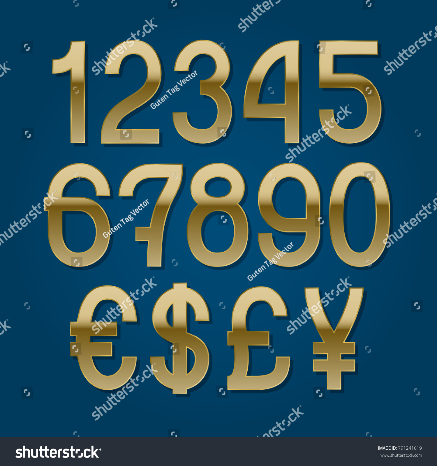 Golden Numbers With Currency Signs Of American Dollar Euro British