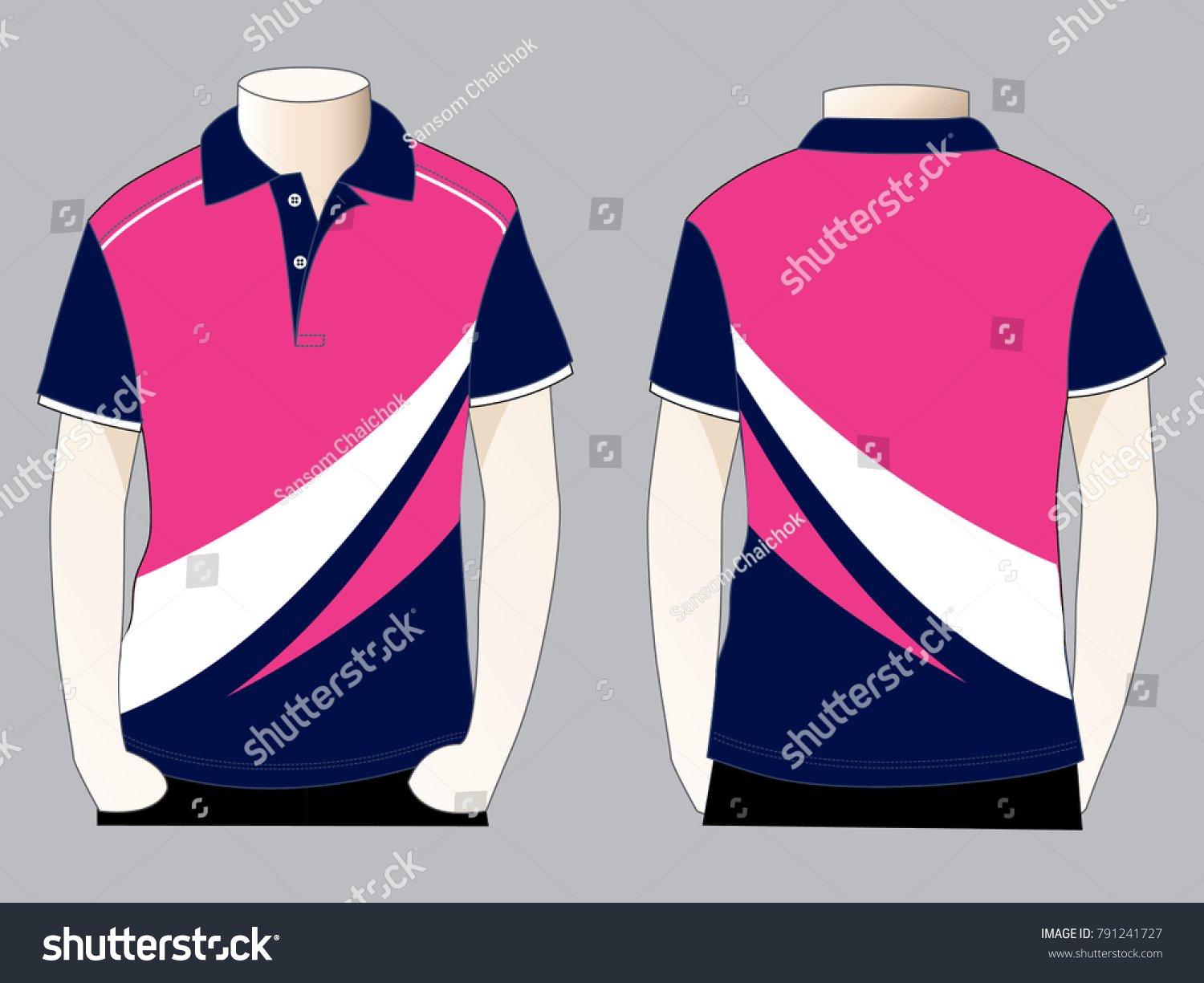 Sport Polo Shirt Design Front Back Stock Vector Royalty Free