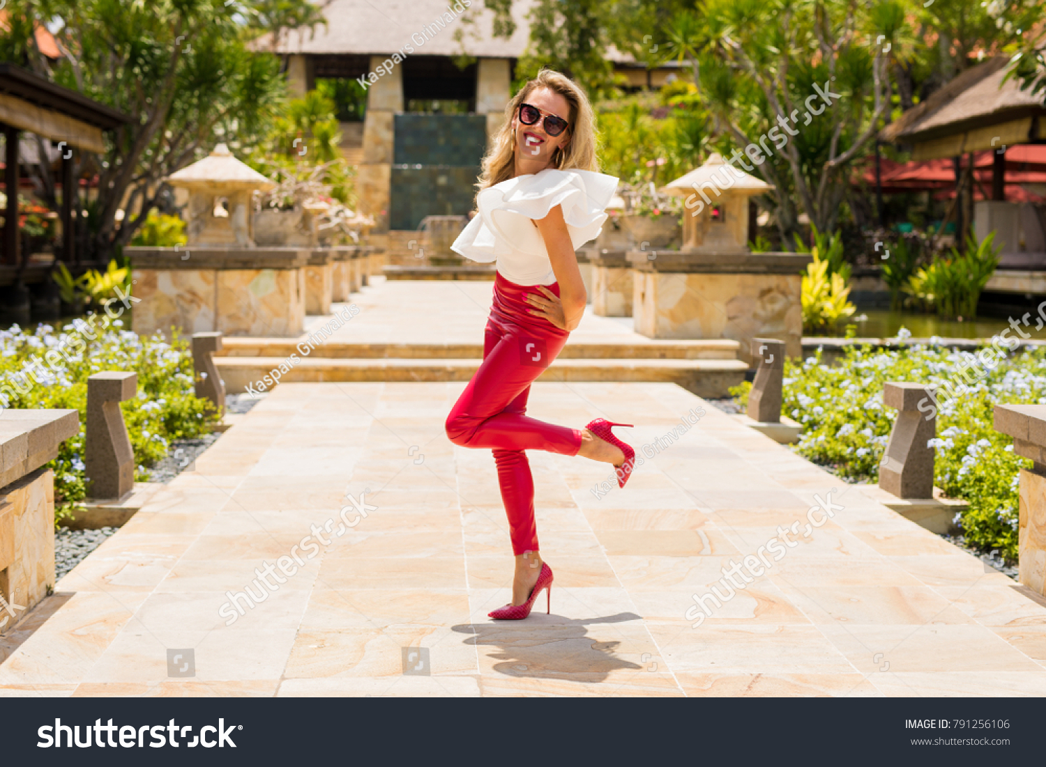 6c21c31e5c6 Attractive Woman Red Leather Pants High Stock Photo (Edit Now ...