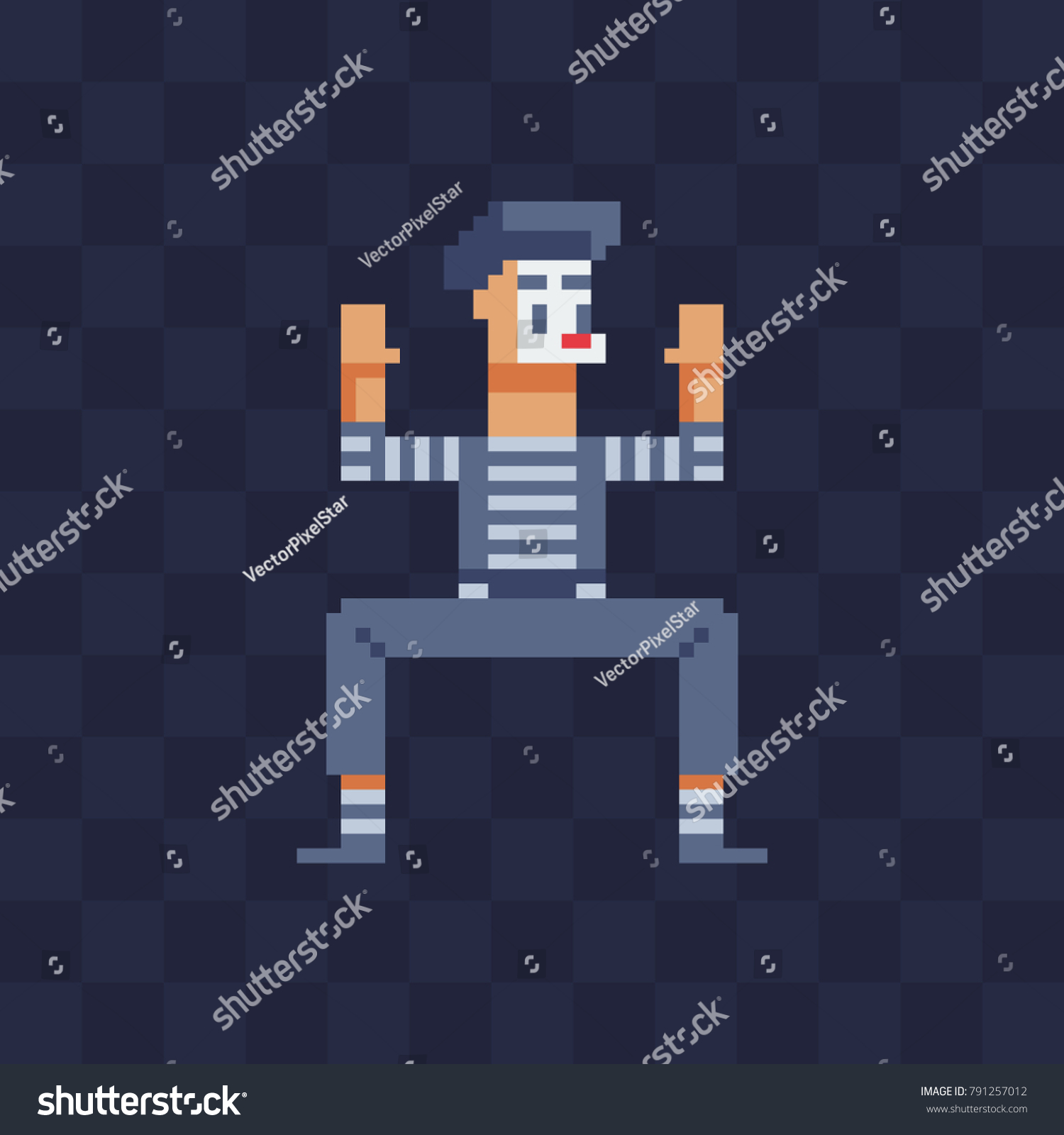 French Mime Artist Character Pixel Art Stock Vector 791257012