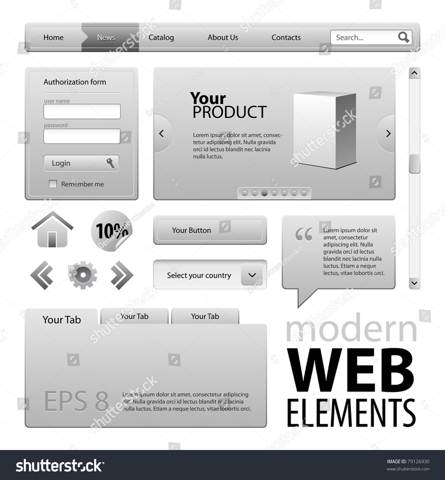 Gray Modern Website Design Elements Buttons Stock Vector ...