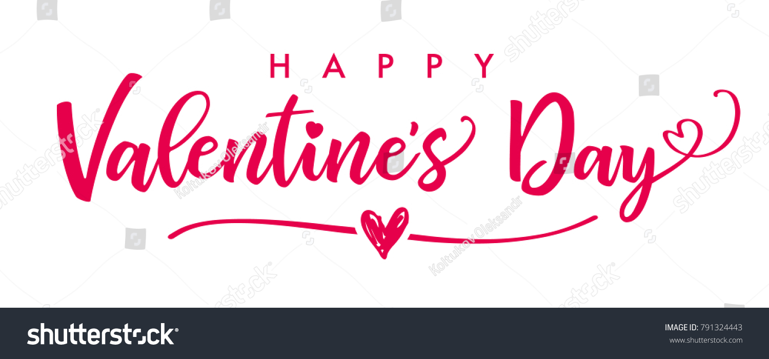 Lettering Happy Valentines Day Banner Valentines Stock Vector