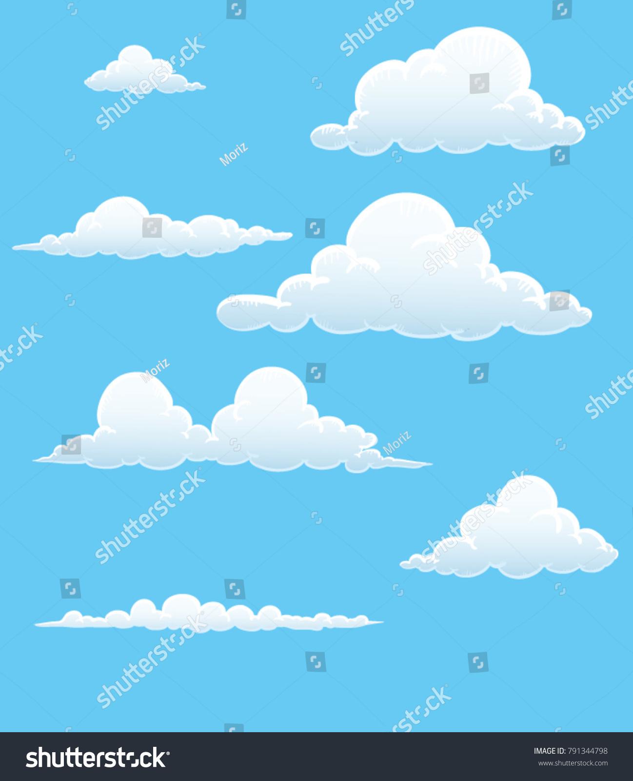 cartoon cloud vector set blue sky stock vector 791344798 shutterstock rh shutterstock com vector skydiving rig vector skydiving gear