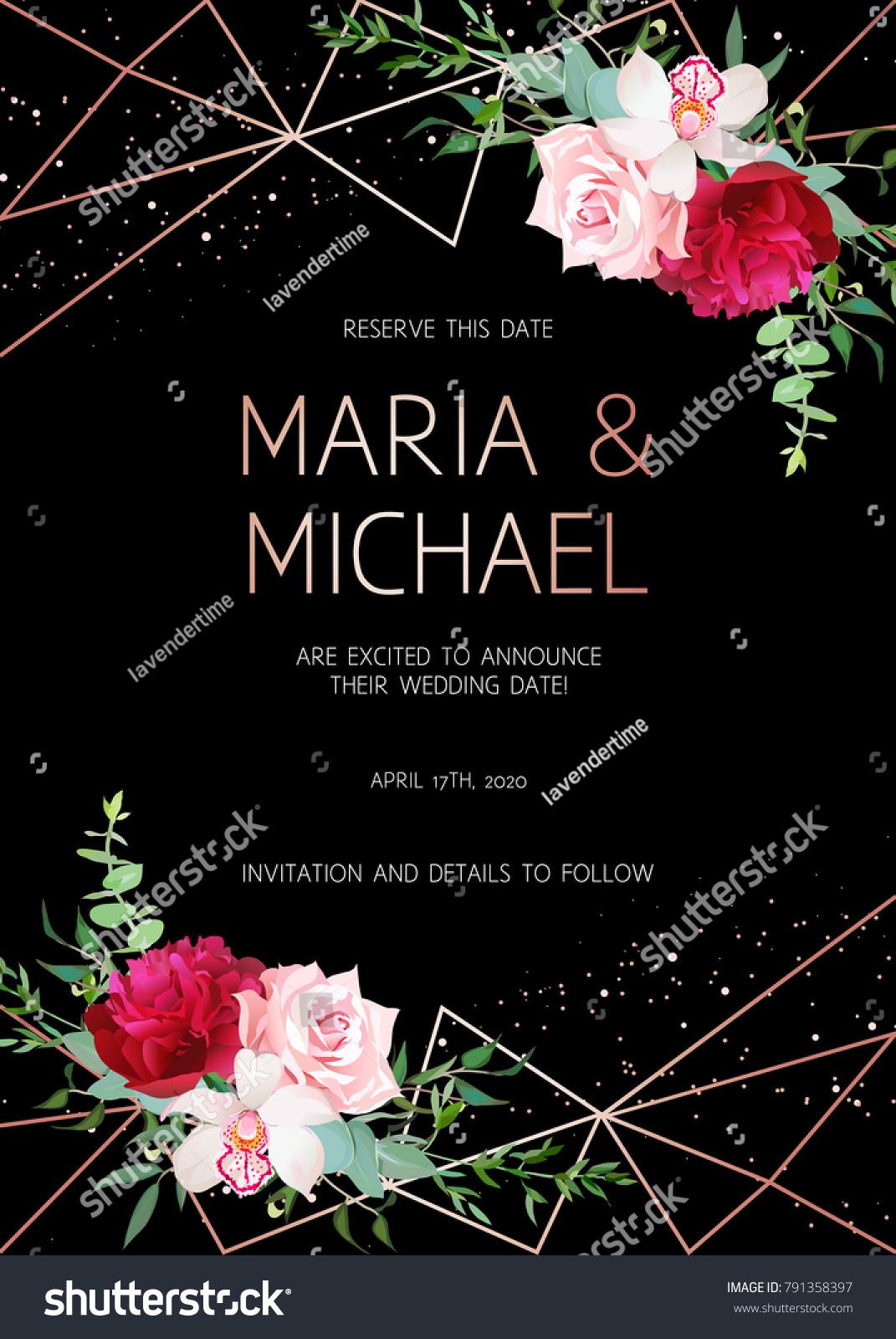 Stylish dark geometric wedding vector design stock photo photo stylish dark geometric wedding vector design frame with flowers golden line borders modern invitation stopboris Images