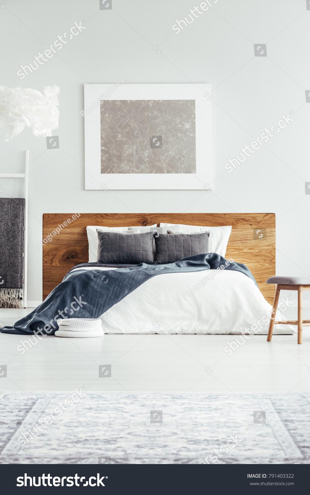 White Bedding Gray Pillows Navy Blue Stock Photo Edit Now 791403322