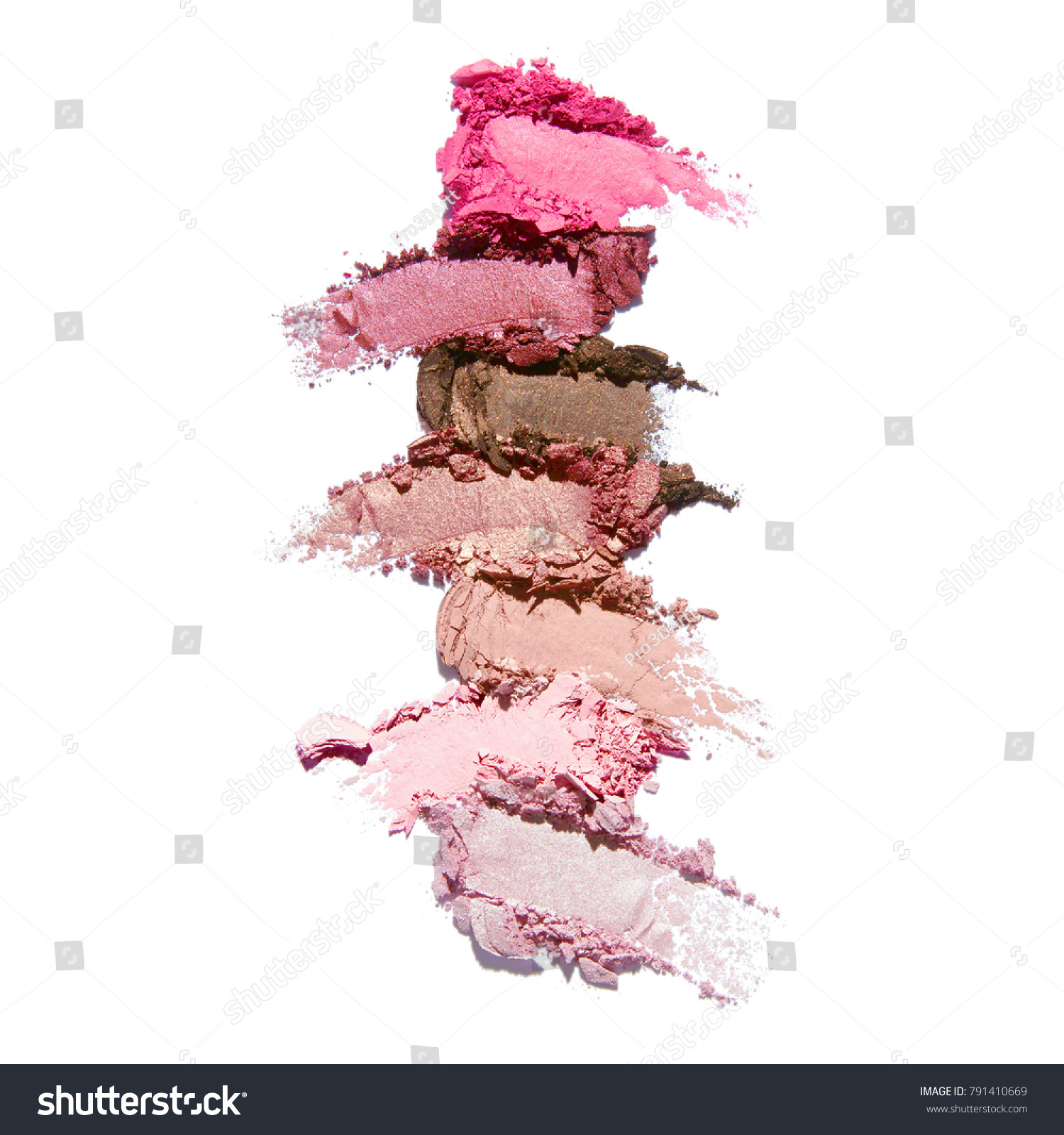 Collection of Makeup Blush Powder Isolated on White Background. Matte Eye Shadow Smears. Grooming Products. Foundation Swatches. Eyeshadow Smudge #791410669