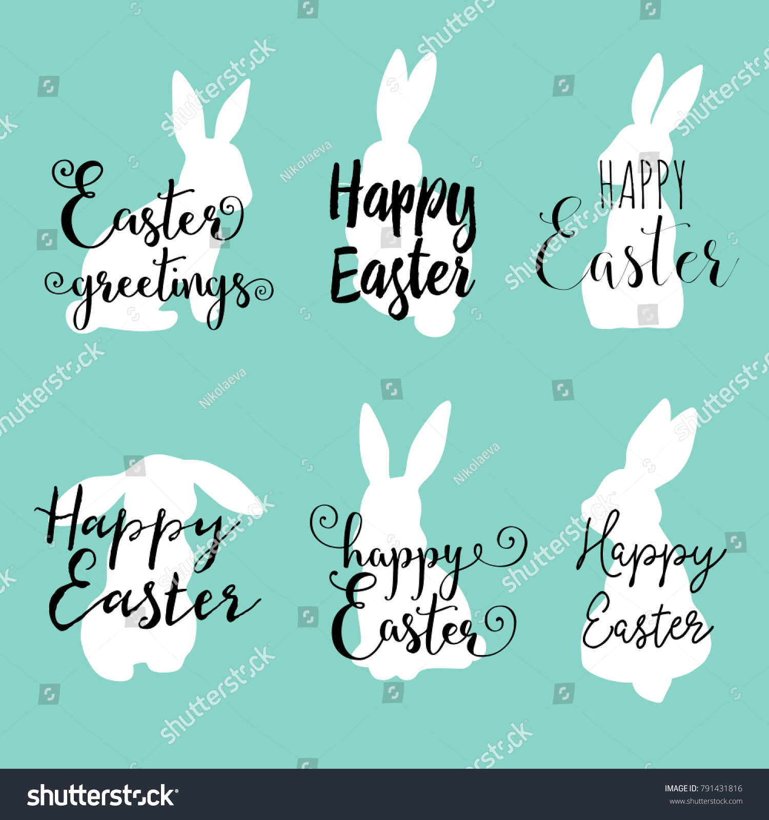 Hand Lettering Happy Easter Greetings Phrases Stock Vector Royalty
