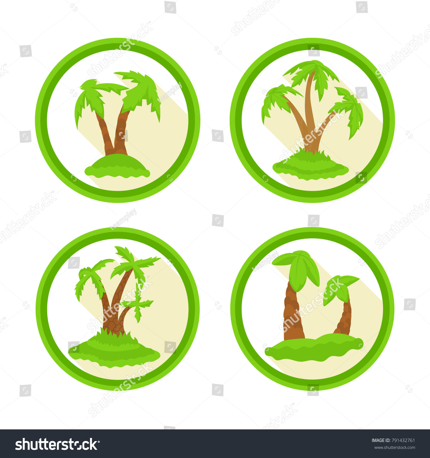 Set Icons Palm Trees Bright Colored Stock Illustration 791432761 ...