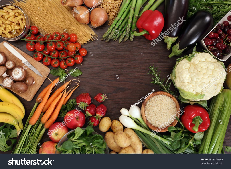 Photo Table Top Full Fresh Vegetables Stock Photo 79146808