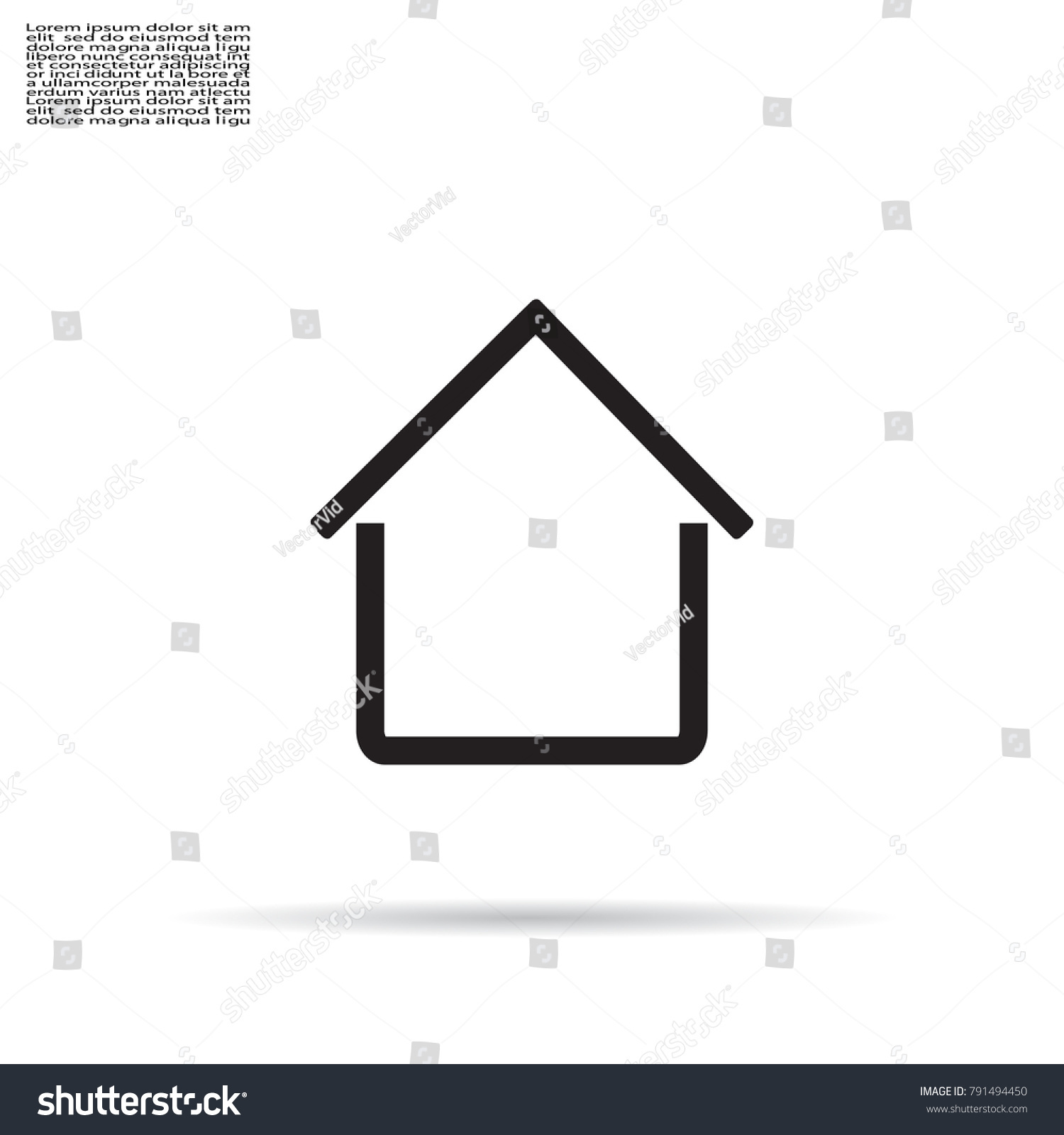 Home Icon Shadow On Grey Background Stock Vector (Royalty