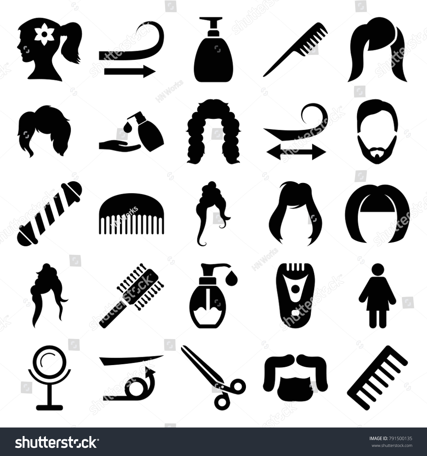 Hair Icons Set 25 Editable Filled Stock Vector Royalty Free