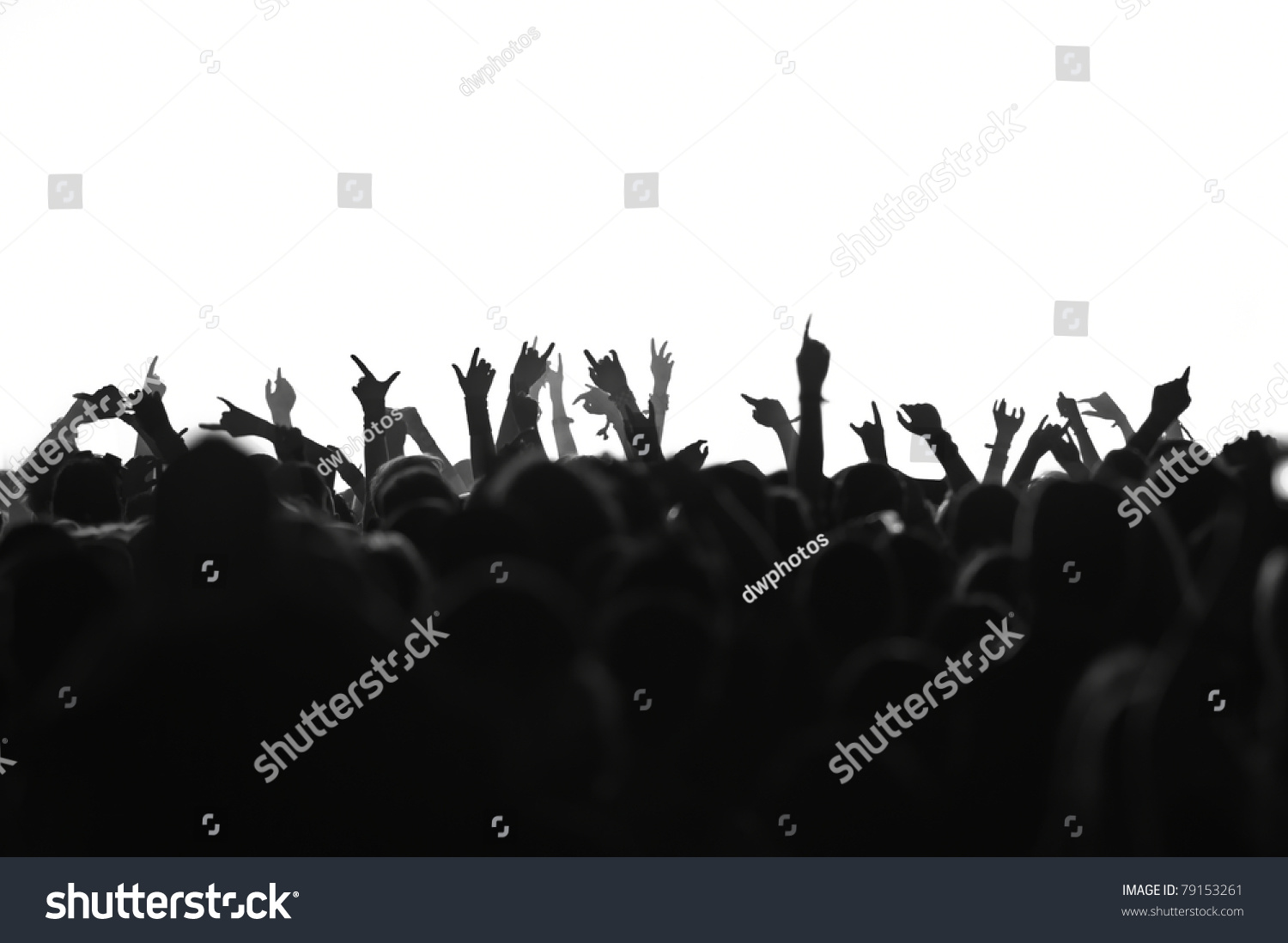 Silhouettes Concert Crowd Front Bright Stage Stock Photo ...