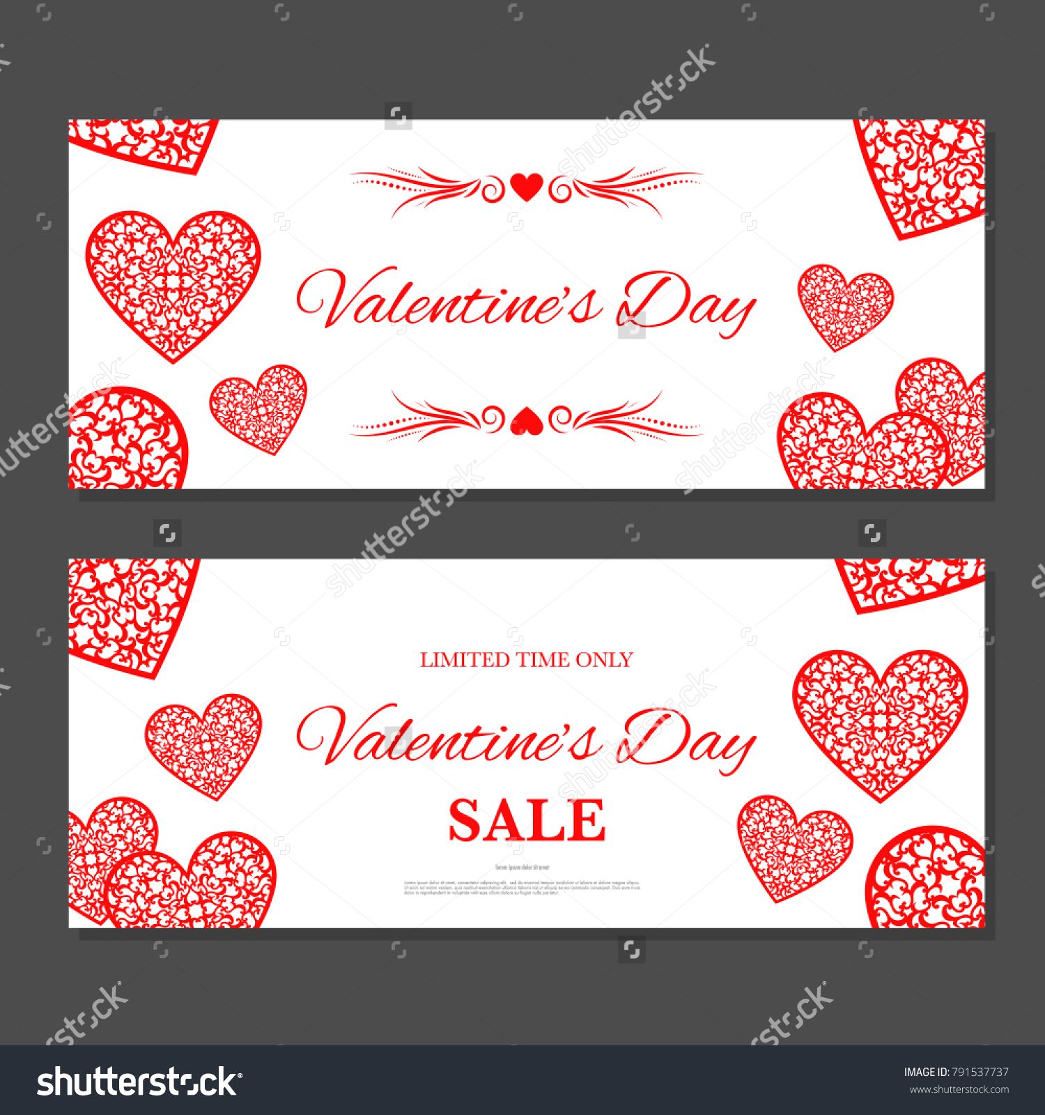 Valentineu0027s Day Gift Coupon. Gift Voucher Template With Red Hearts. Two  Side Of Discount  Coupon Voucher Template
