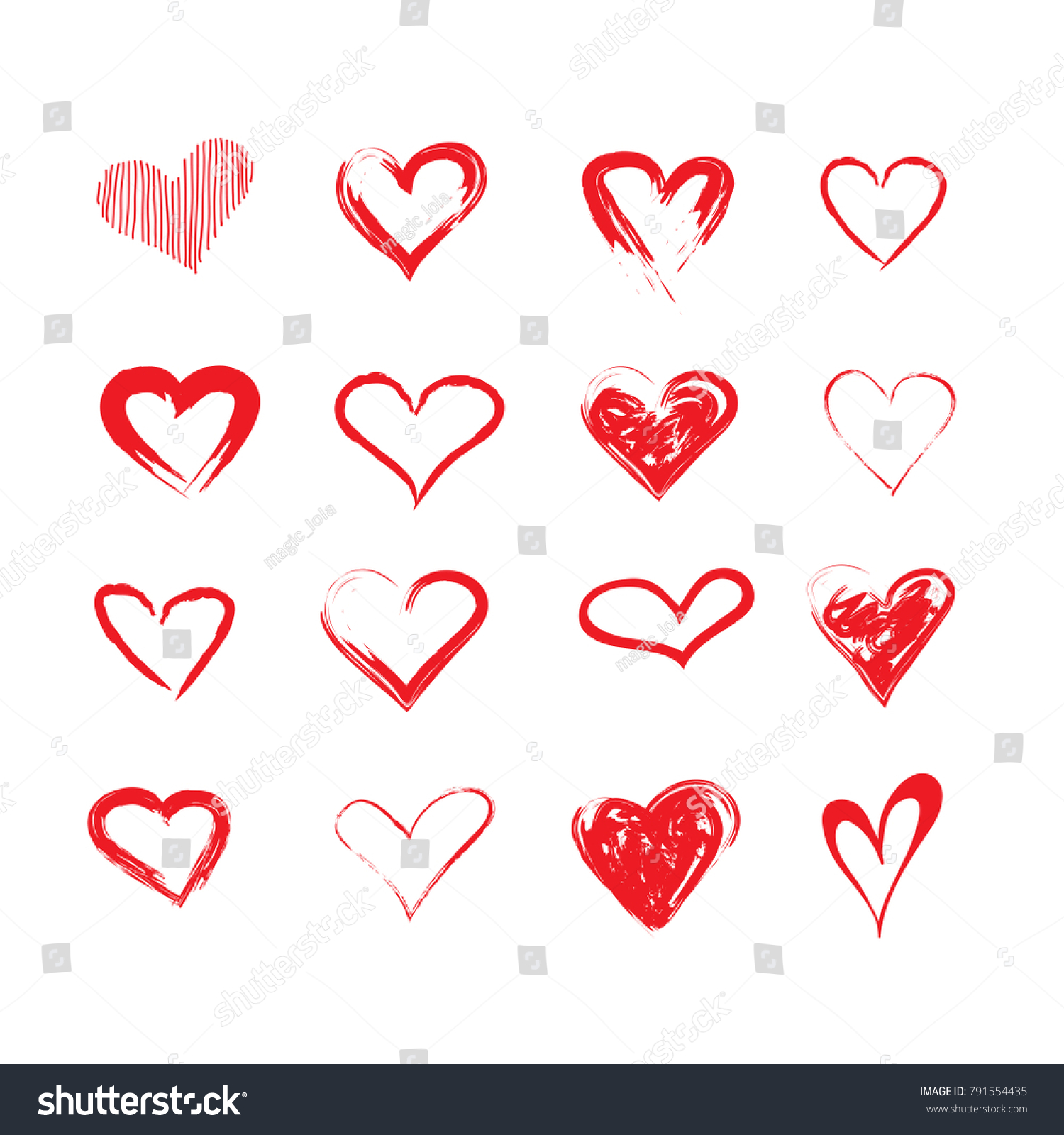 Vector Grunge Hearts Set Valentine Day Stock-Vektorgrafik 791554435 ...