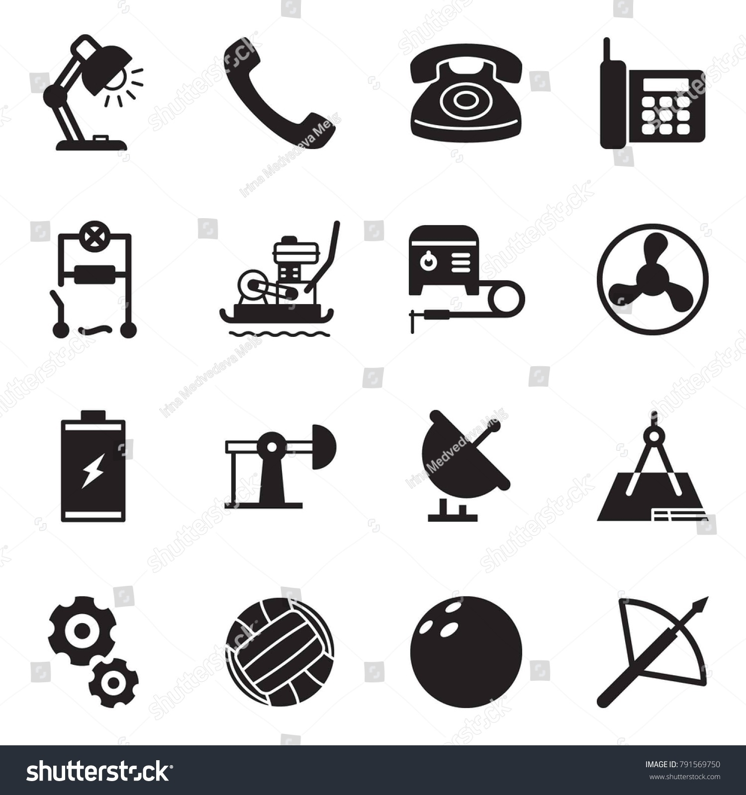 Solid black vector icon set - table lamp vector, phone, wiring, plate  compactor