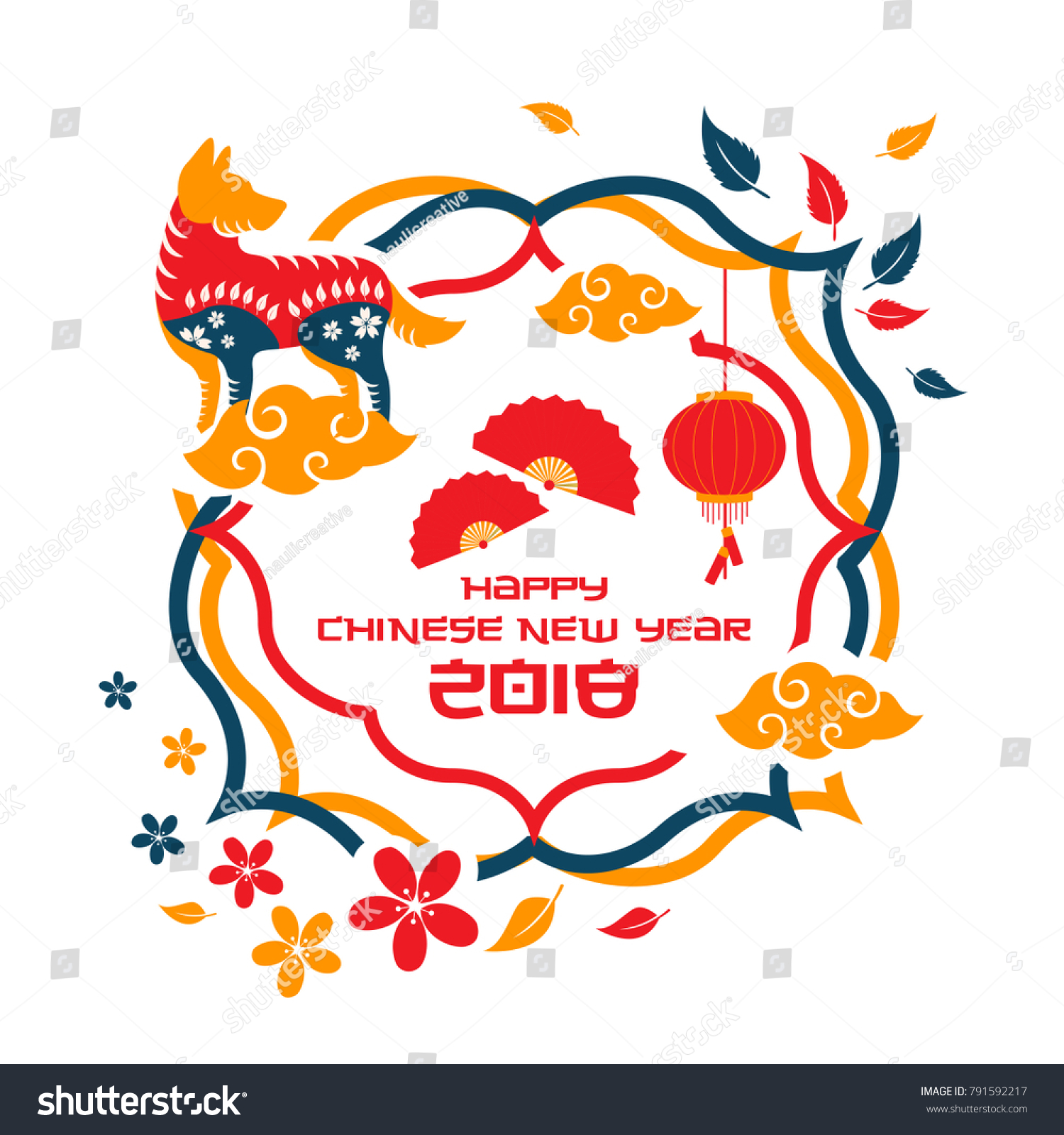 colorful chinese new year 2018 dog year banner and card design suitable for social media