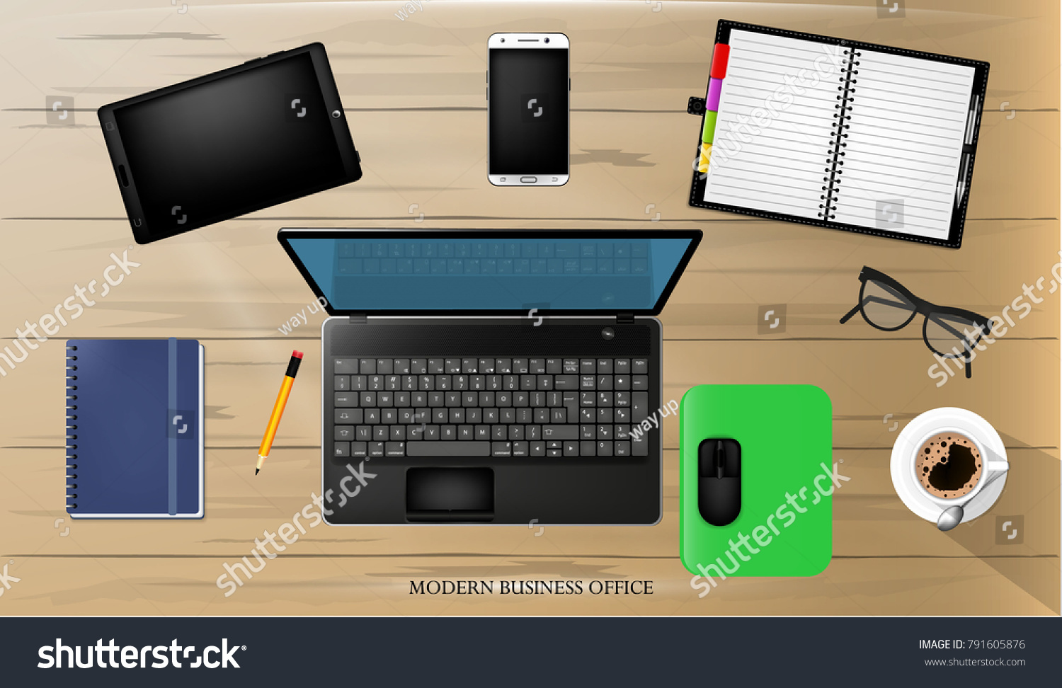 Modern Business Office And Workspace Background, Vector Illustration. Top  View Of Office Desk With