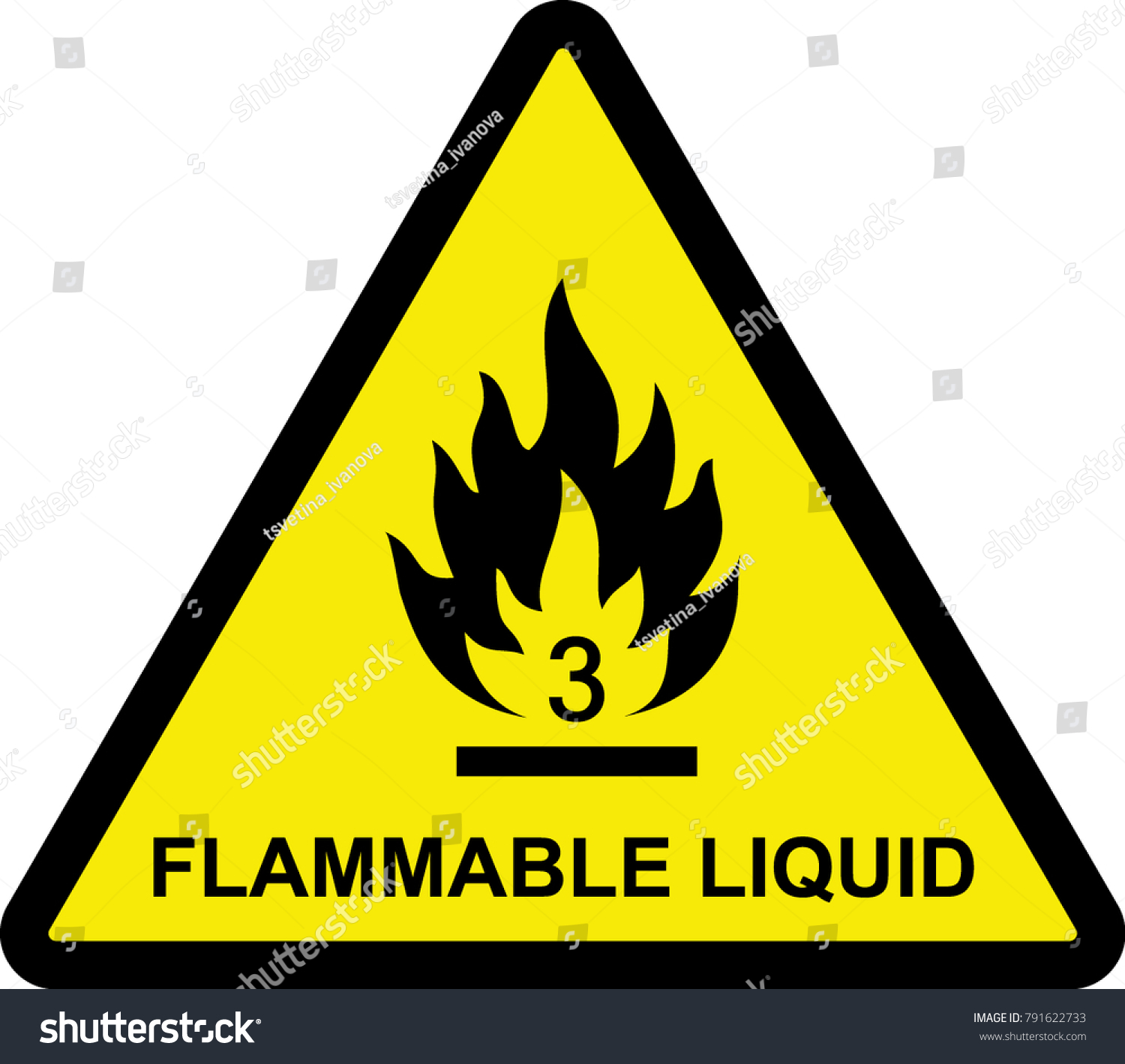 Flammable Liquid Sign Yellow Flammable Symbol Stock Vector Royalty