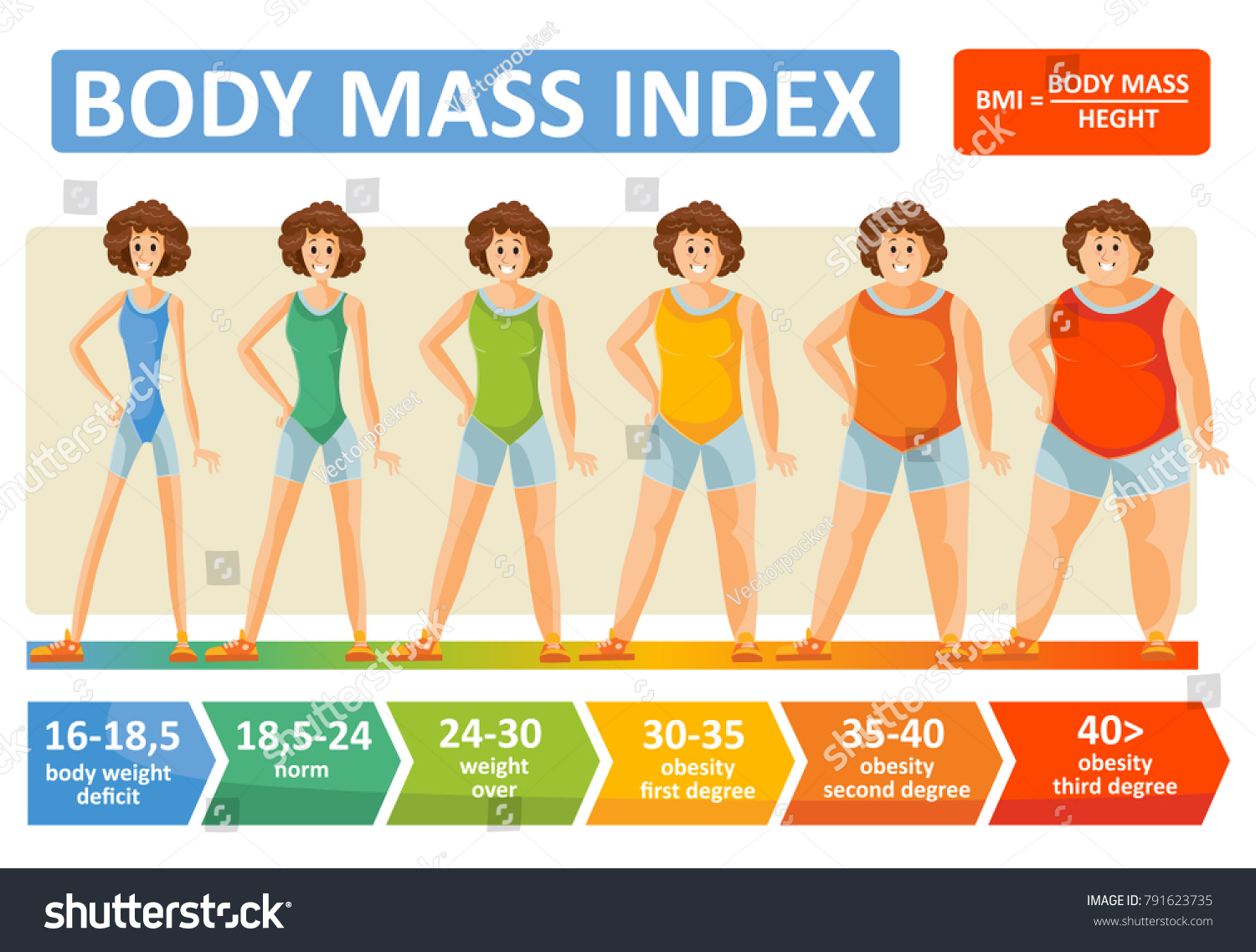 Body Mass Index Woman Obesity Weight Stock Vector Royalty Free 791623735