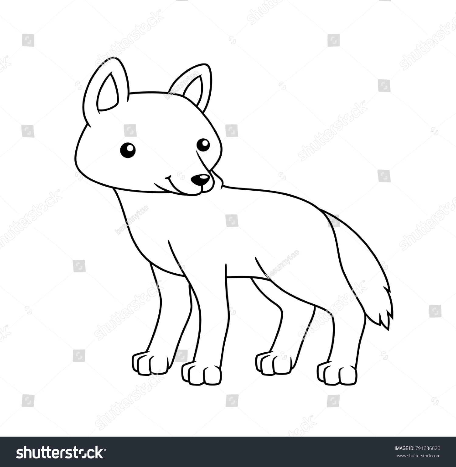 Black White Cute Cartoon Wolf Coloring Stock Vector (Royalty Free ...