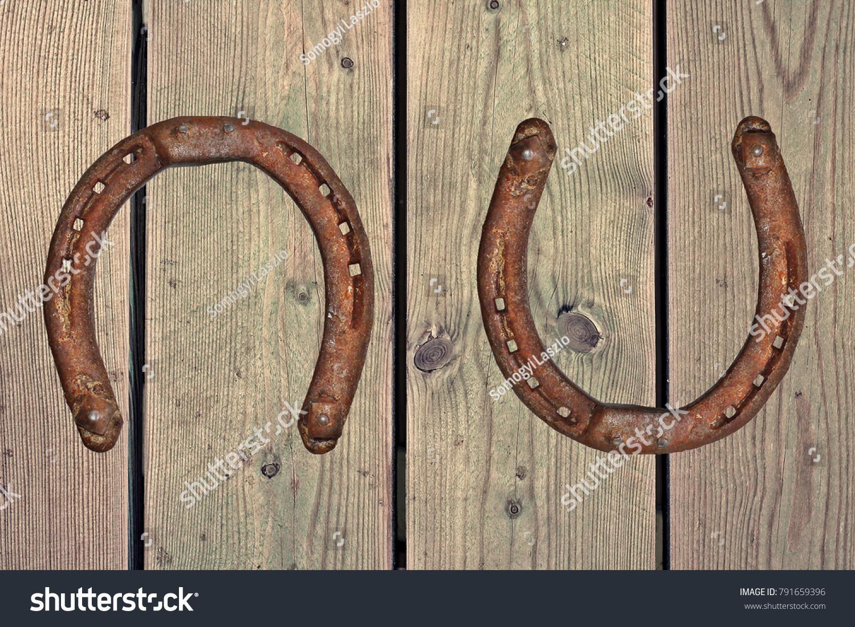 Old Rusty Horseshoe On Wood Background Good Luck Symbol Western
