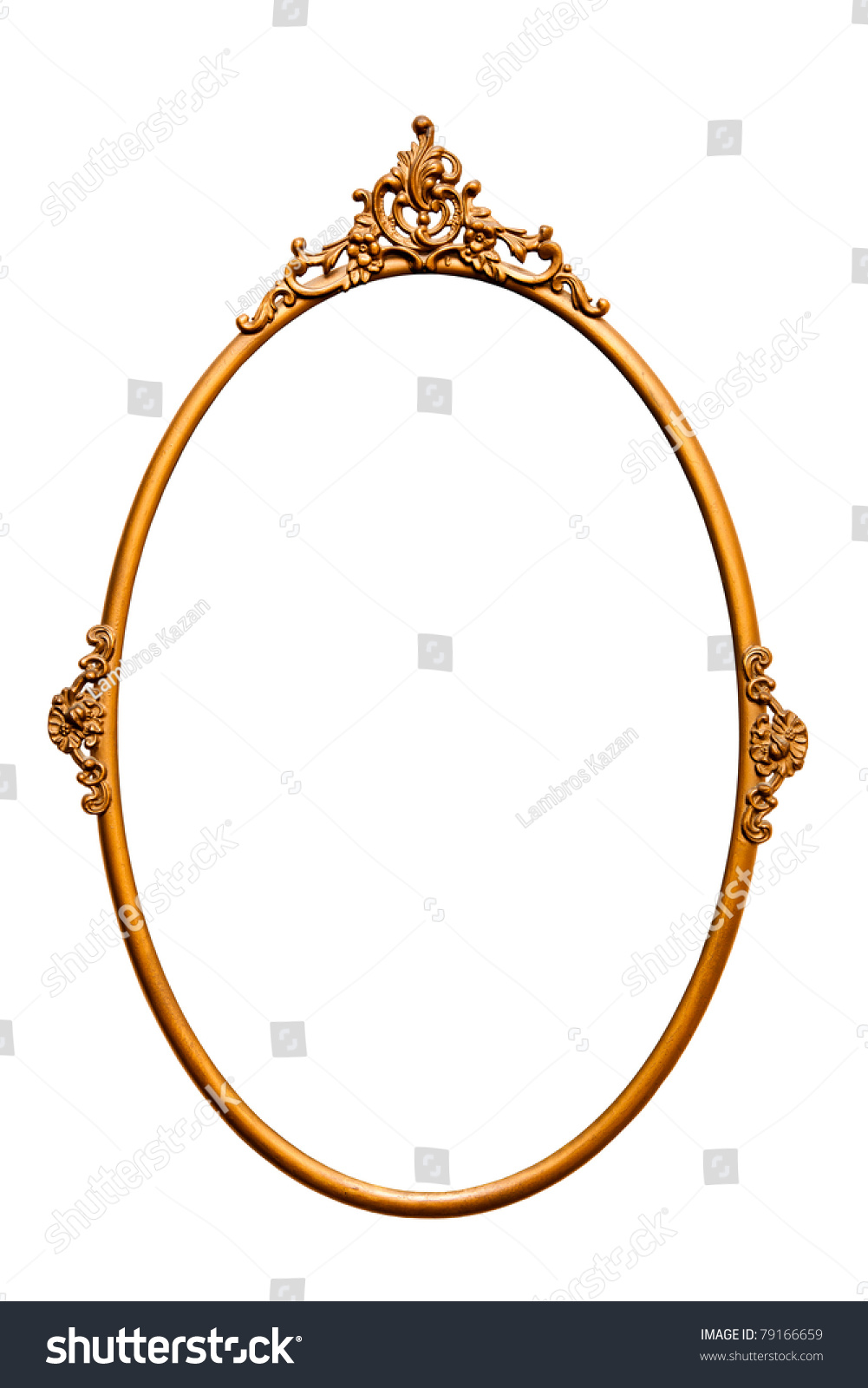 golden retro mirror frame isolated on white clipping paths included