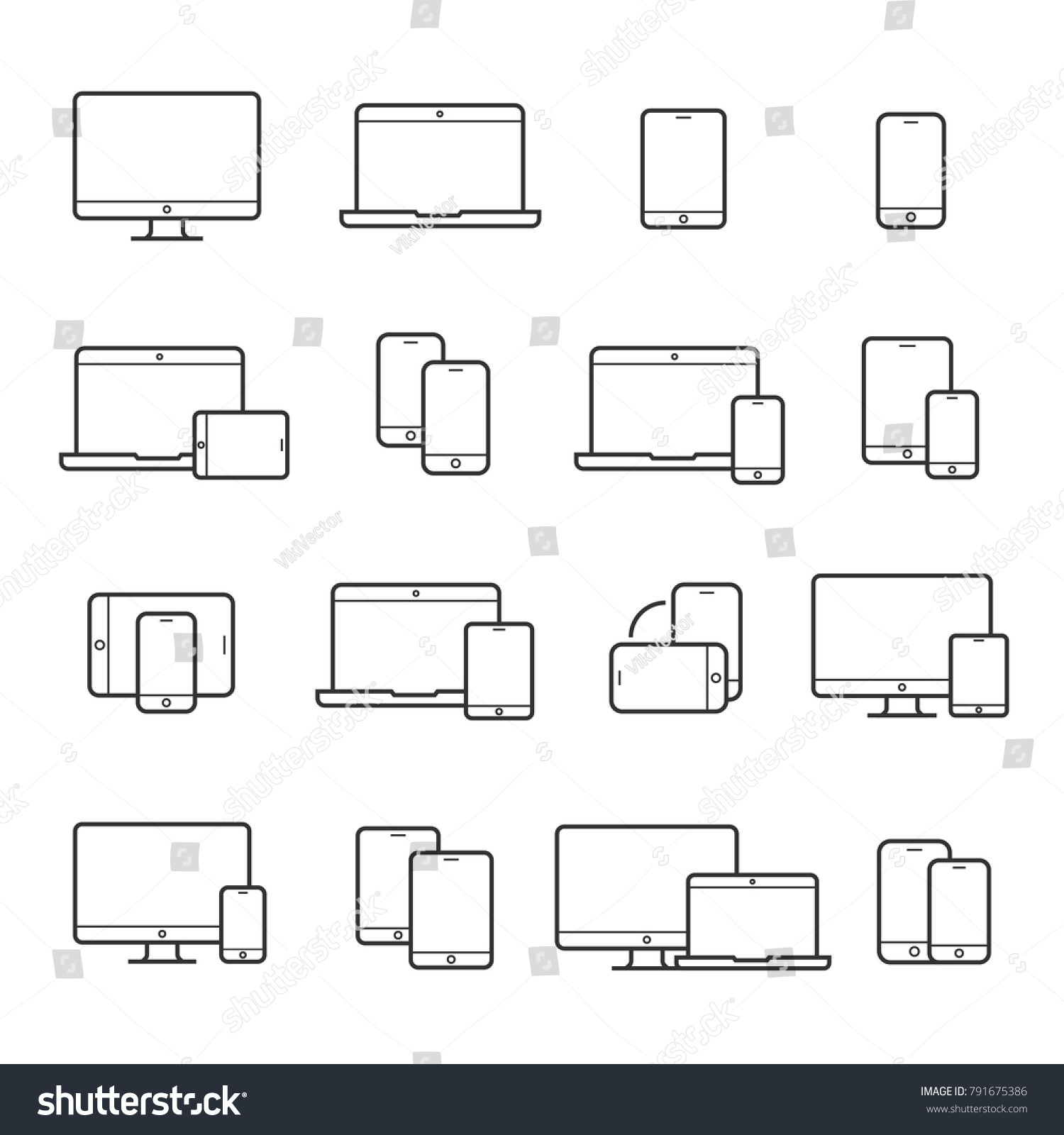 Device line icon set. Portable compact personal computer, smartphone, mobile phone, gadgets for information management, mobile calls, email sending. Vector line art illustration, white background