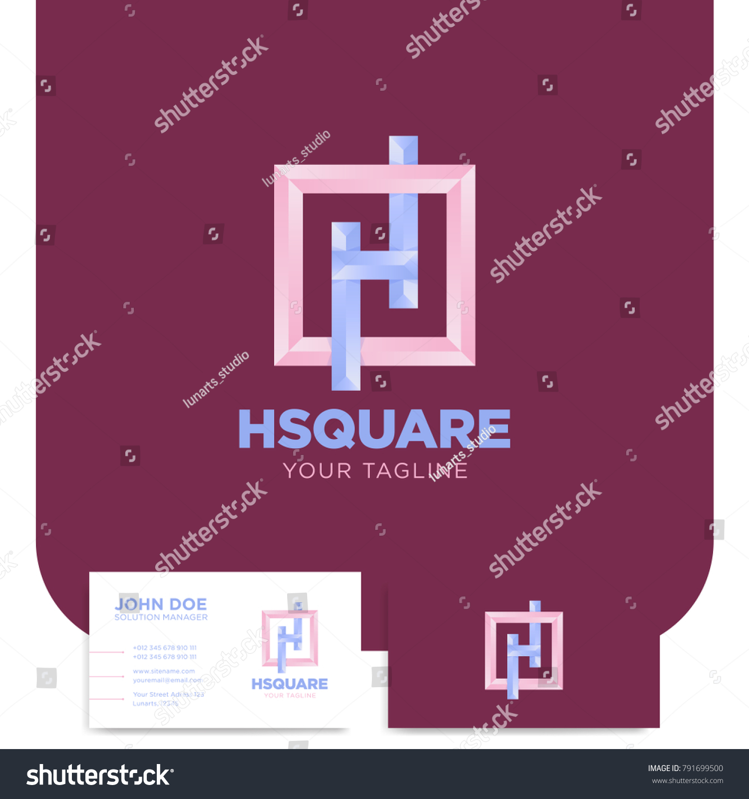 Simple H Letter Logo Square Frame Stock Vector 791699500 ...