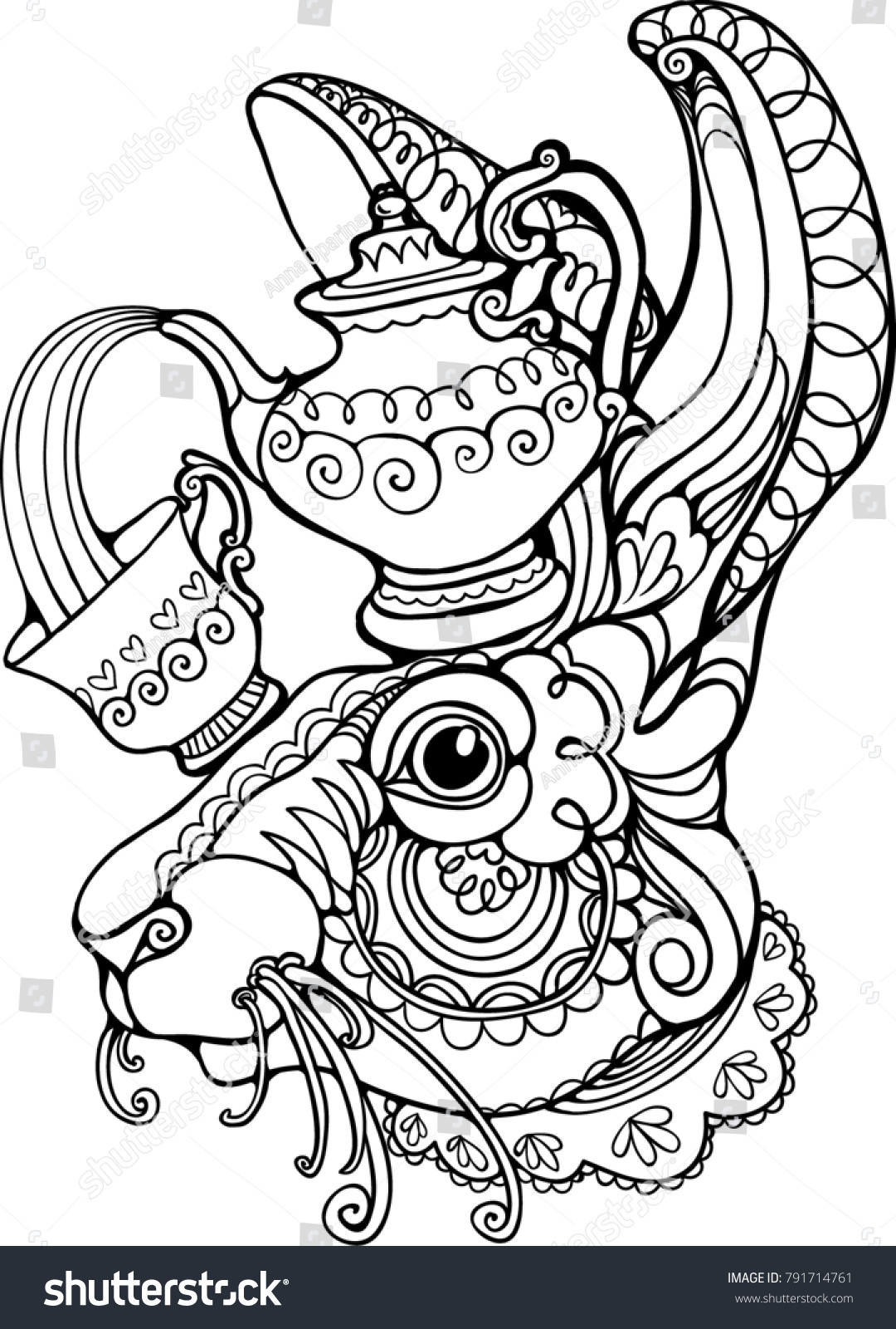March Hare Mad Tea Party Alice Stock Vector 791714761 - Shutterstock