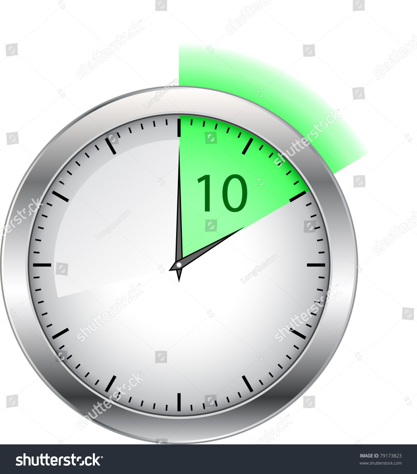 Large White Wall Clock On A White Background Stock Vector