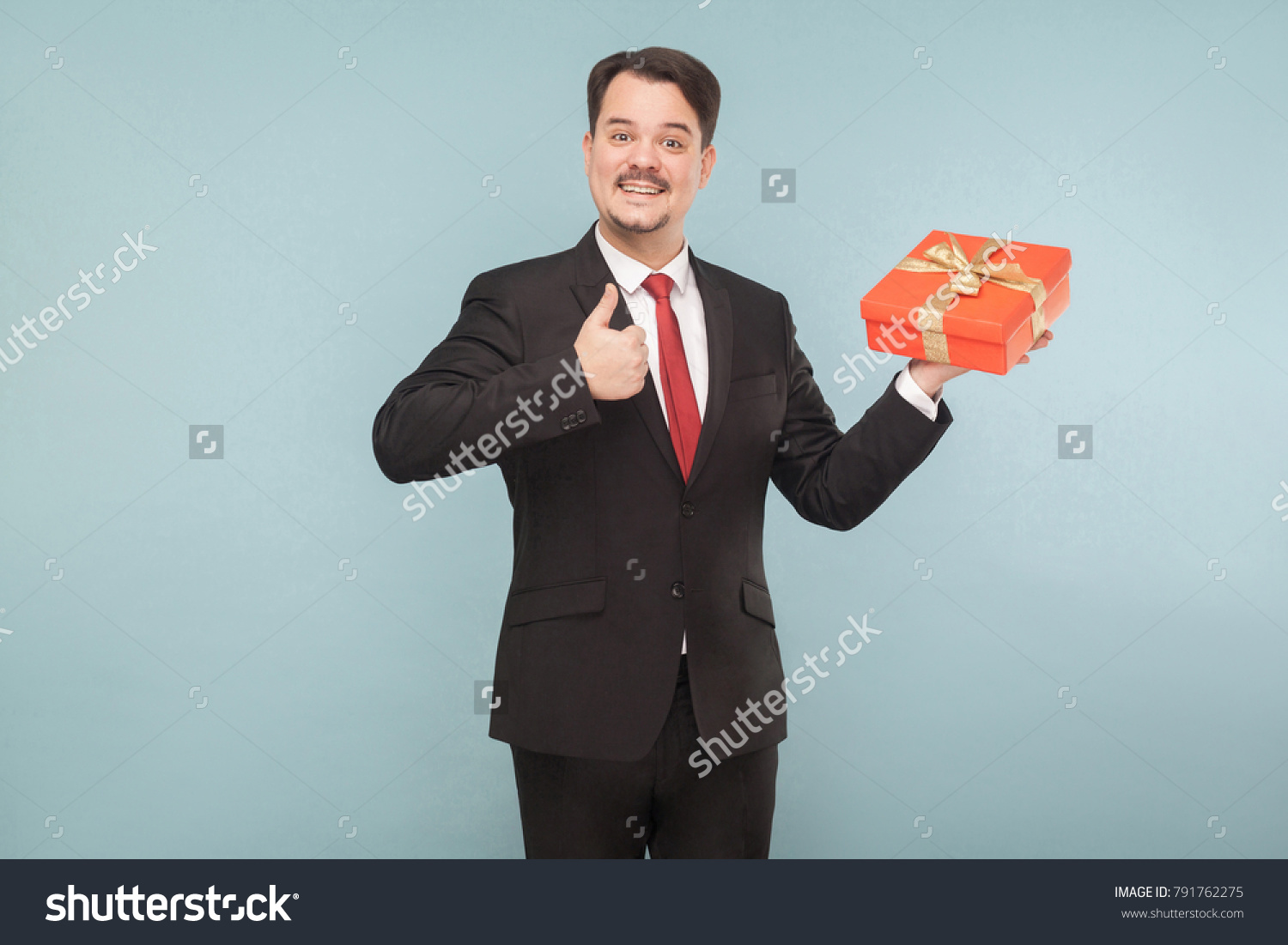 Happy Man Black Suit Holding Red Stock Photo (Safe to Use) 791762275 ...
