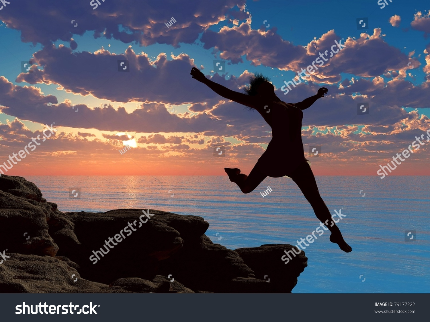 Girl jumping off a cliff