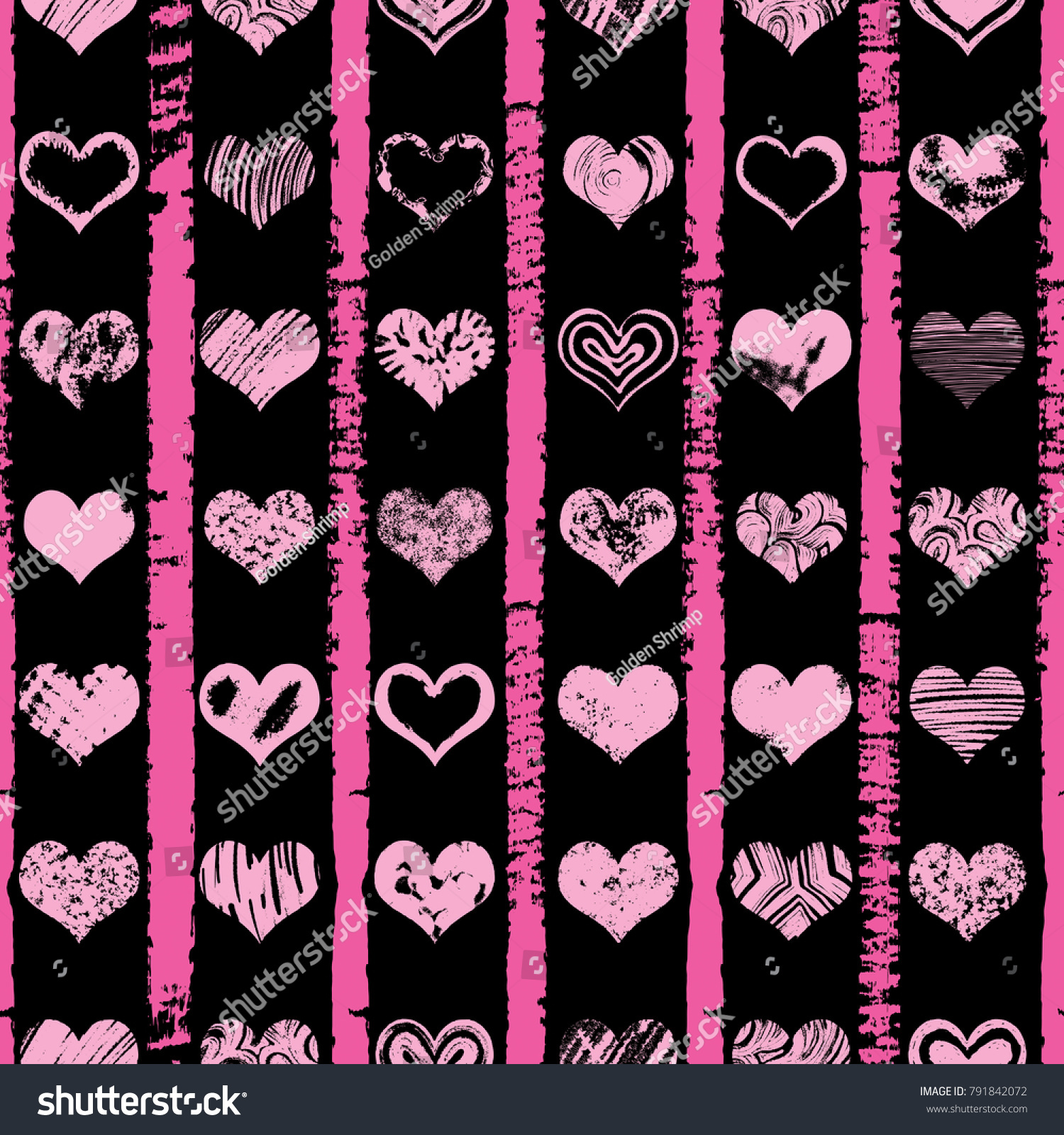 Seamless Pattern Hearts Fashion Beauty Women Stock Vector (Royalty ...