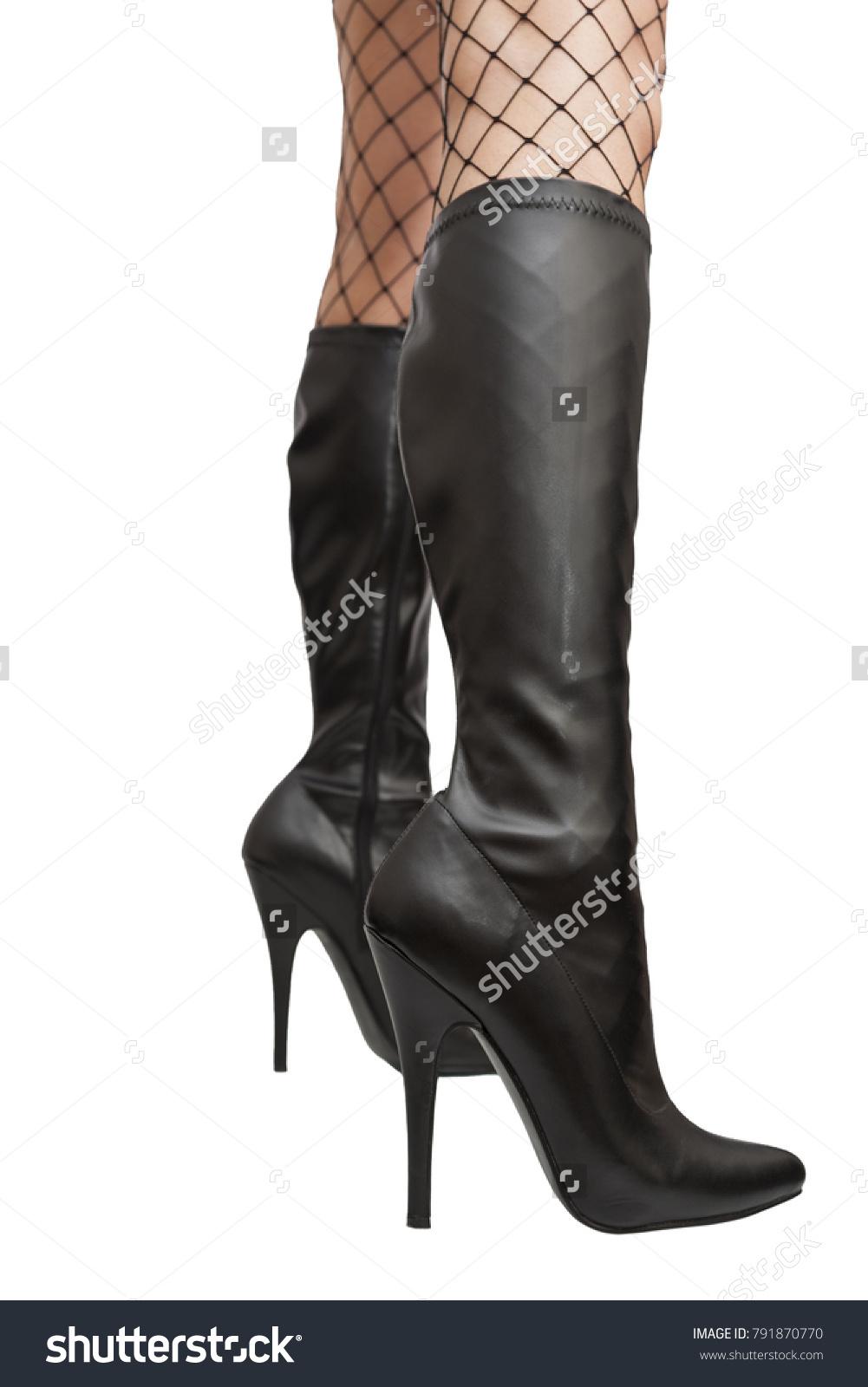 Here white black stockings stilettos