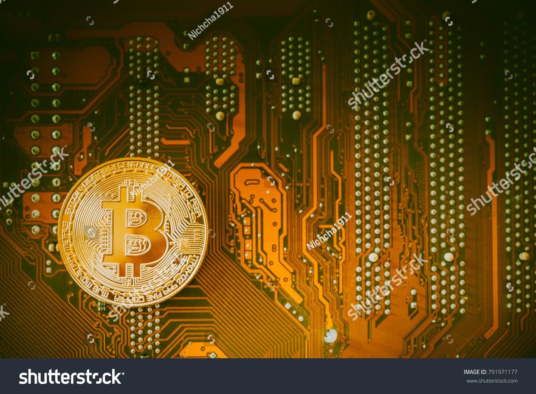 Golden Bit Coin Ticker Symbol Btc Stock Photo Image Royalty Free