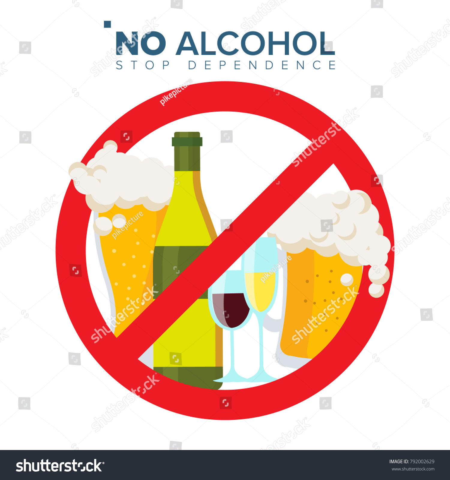No Alcohol Sign Vector. Strike Through Red Circle. Prohibiting Alcohol Beverages. Beer Beverage Stop Sign. Bad Stamp.  Isolated Flat Cartoon Illustration