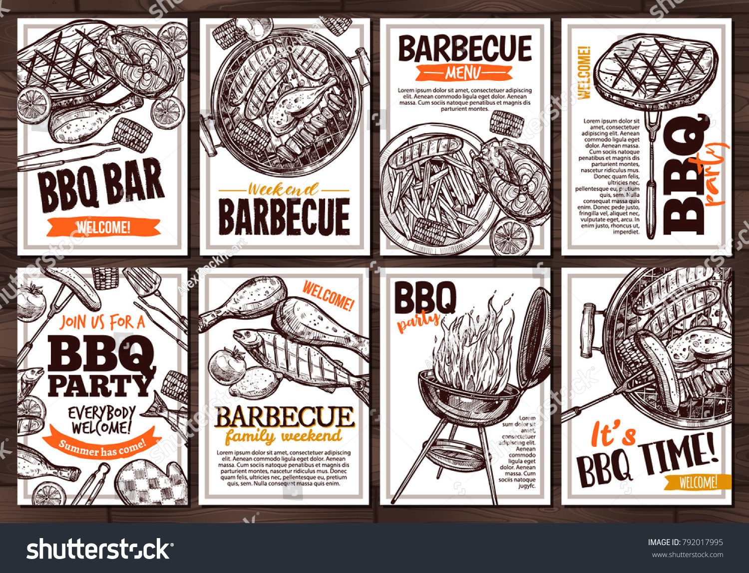 collection vector hand drawn posters grilled stock vector royalty