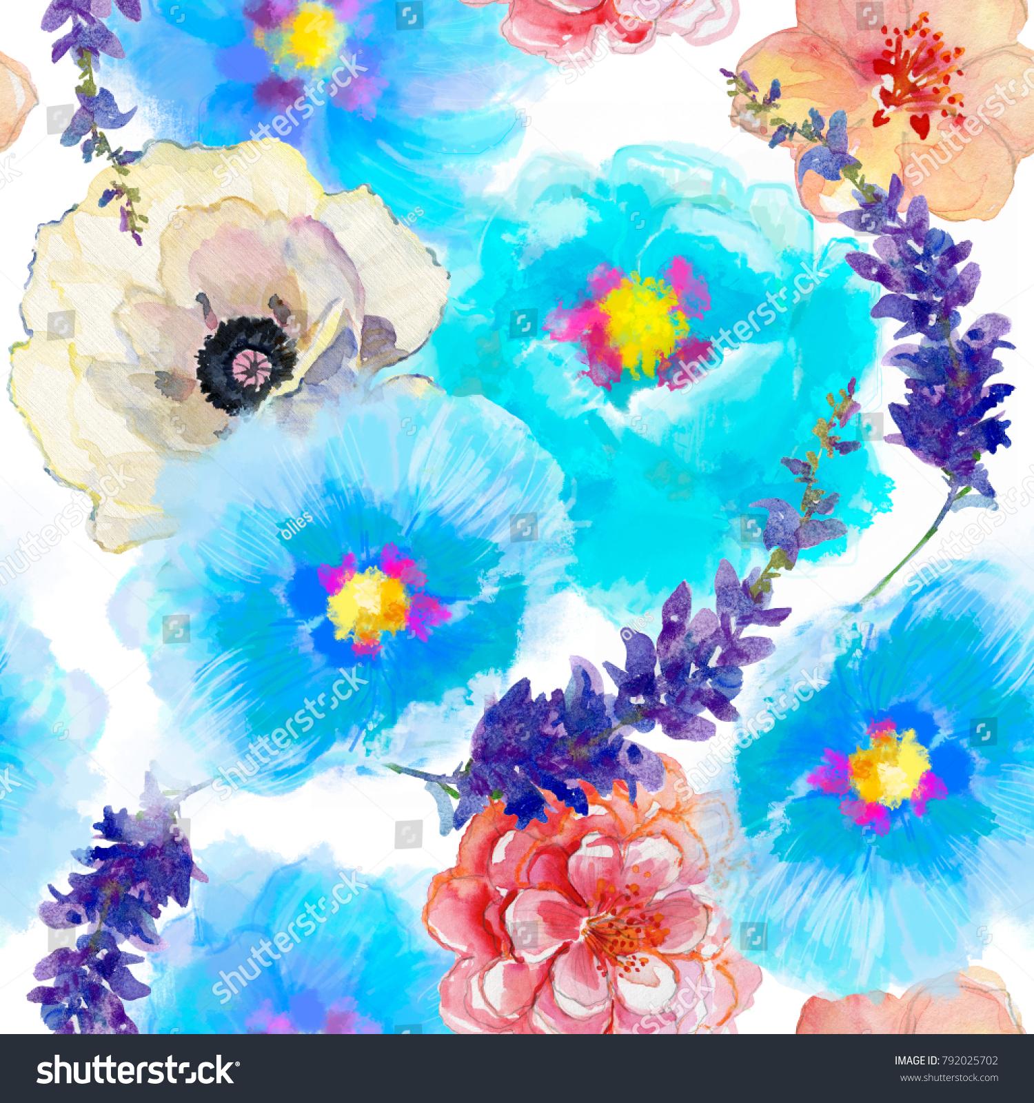 Seamless wallpaper beautiful summer flowers watercolor stock seamless wallpaper with beautiful summer flowers watercolor illustration izmirmasajfo