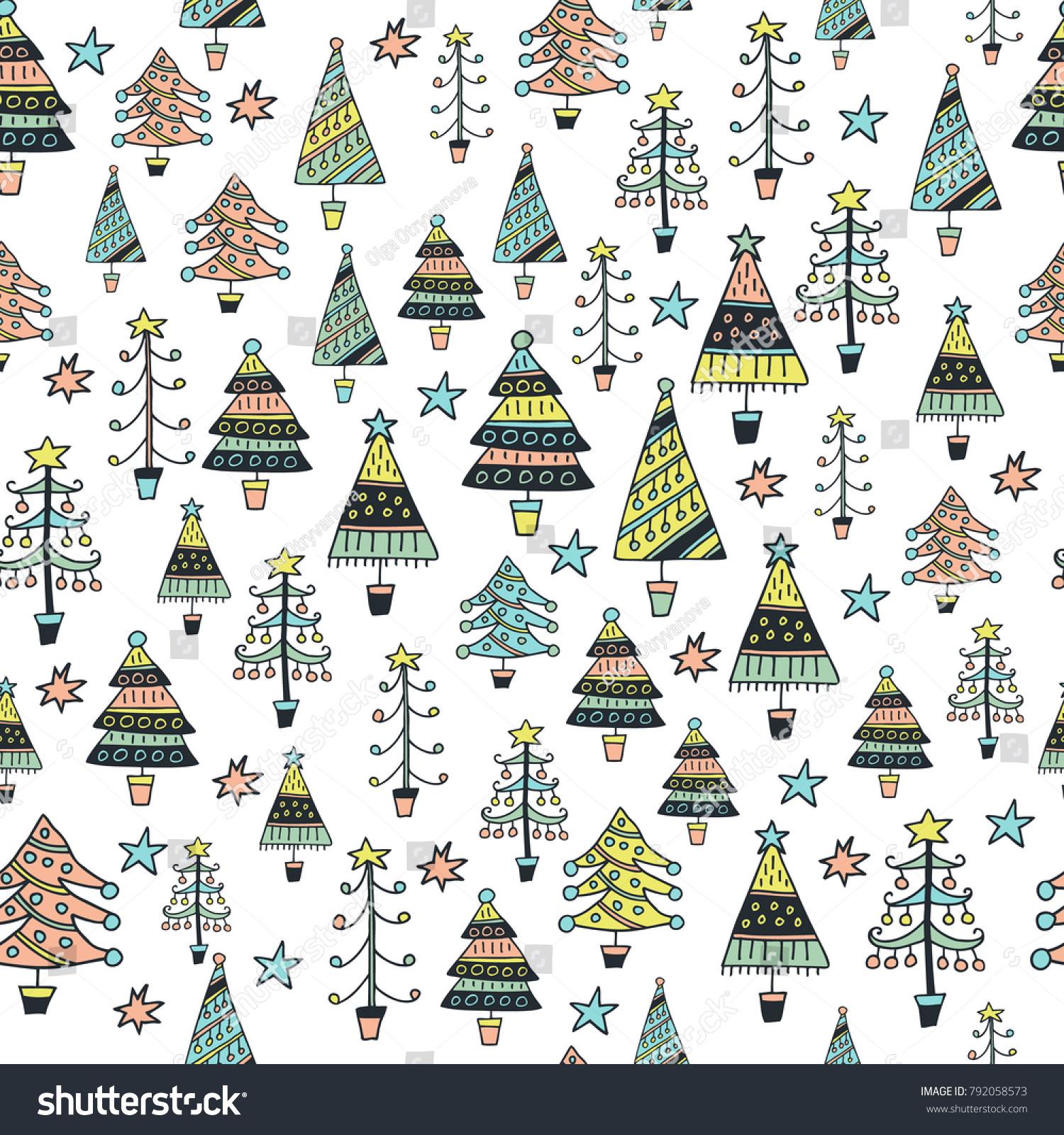 Scandinavian Seamless Pattern Christmas Trees Cartoon Stock Vector Royalty Free 792058573