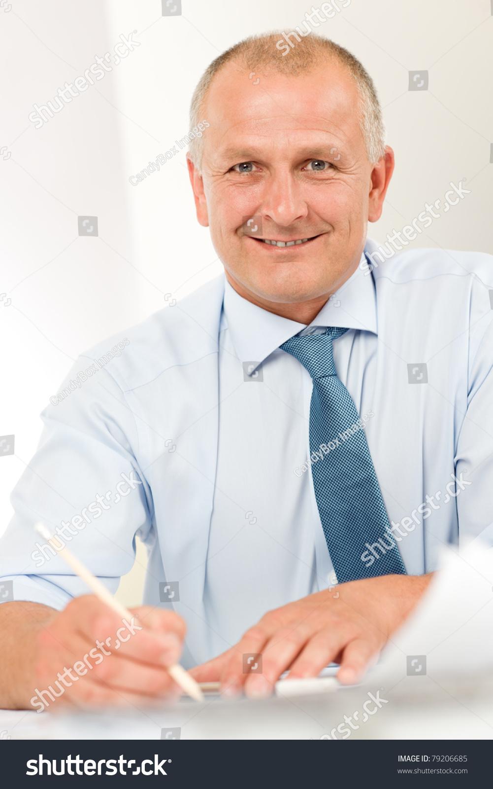 Portrait of professional architect businessman with pen for Professional architect