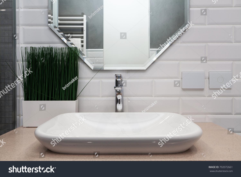 Bathroom Interior Bright Bathroom New Tiles Stock Photo (Edit Now ...