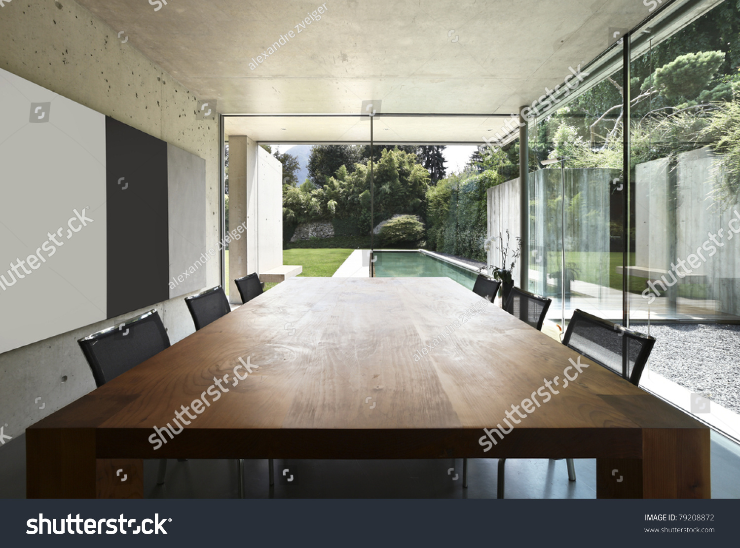 Modern House Interior, Wooden Dining able Stock Photo 79208872 ... - ^