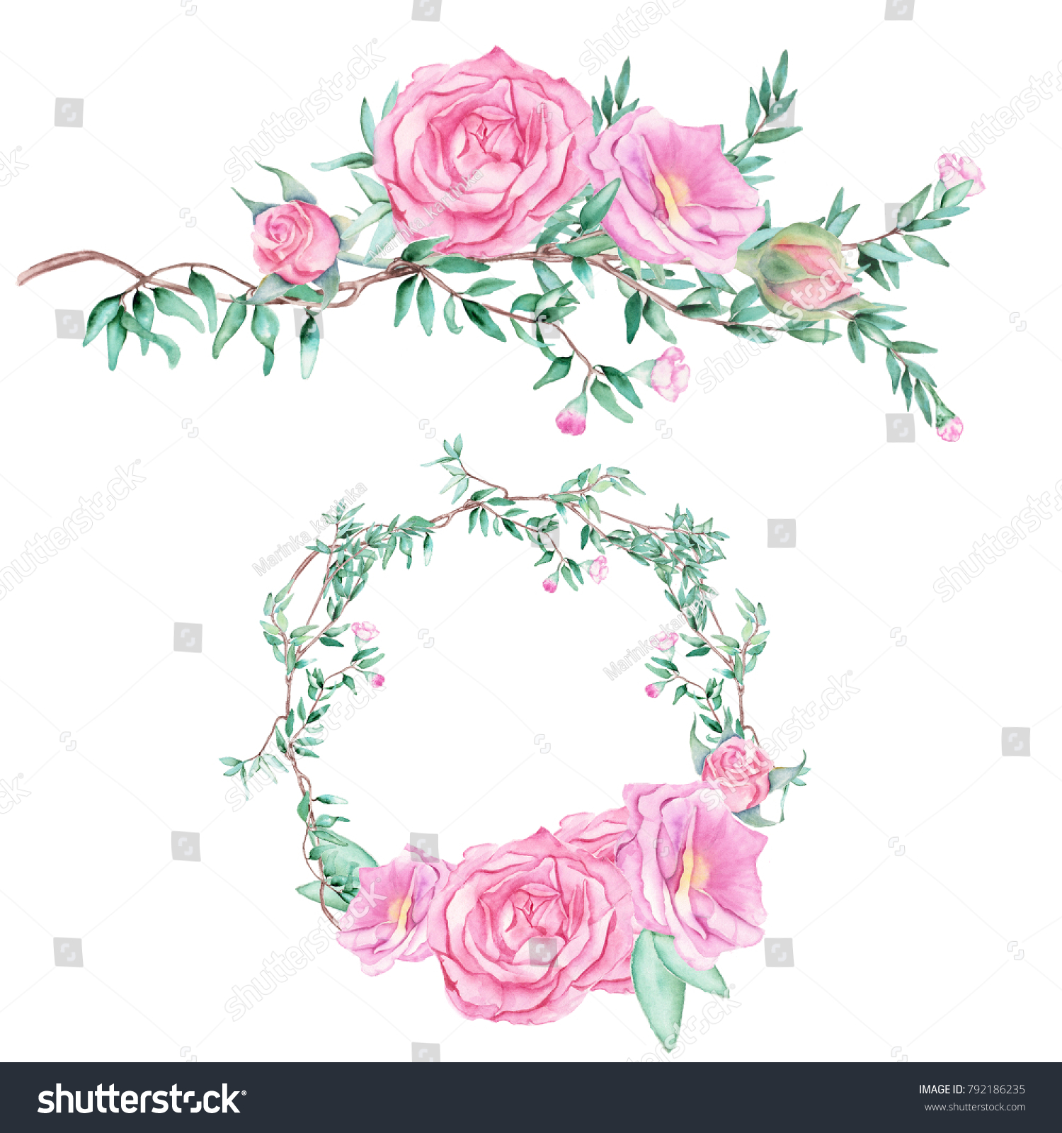 Royalty Free Stock Illustration Of Delicate Watercolor Set Floral