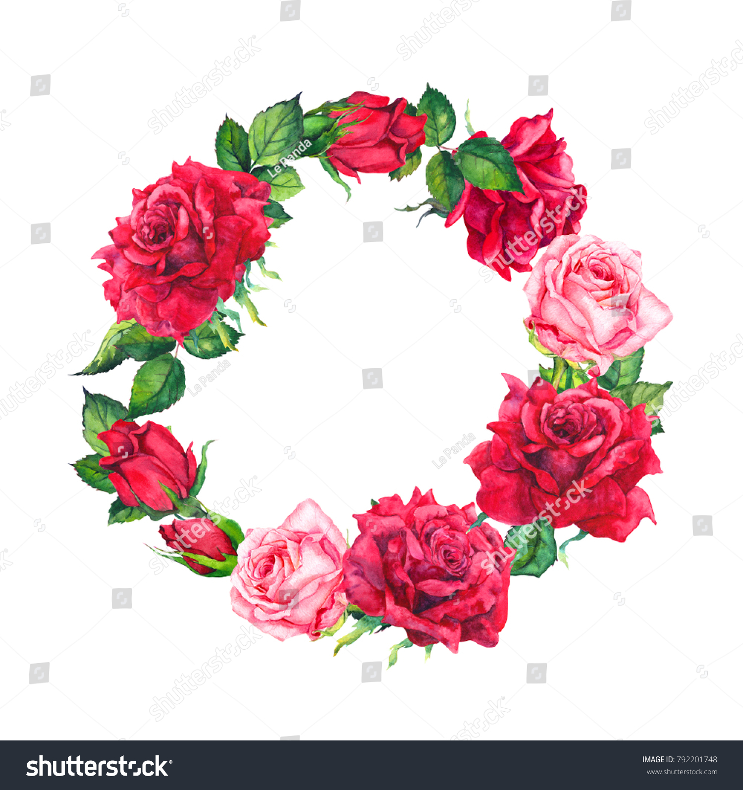 Red Pink Rose Flowers Wreath Floral Stock Illustration 792201748