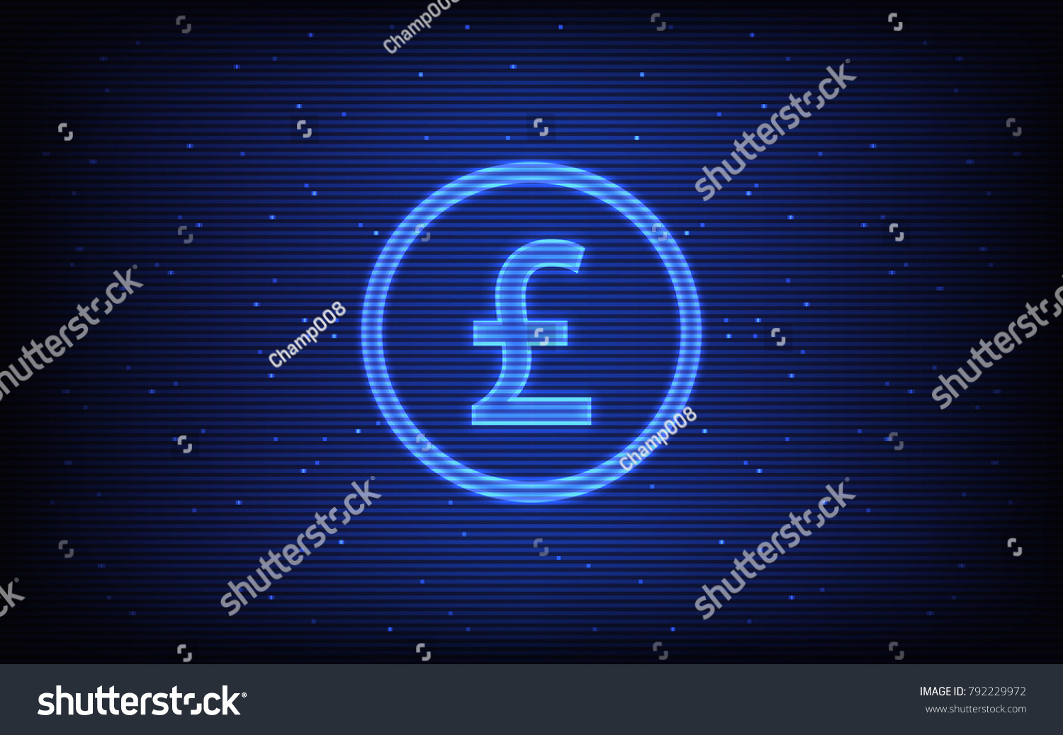 Abstract hologram technology background british pound stock vector abstract hologram technology background with british pound currency symbol in blue color biocorpaavc Images