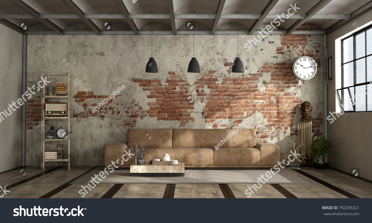 industrial style living room furniture. Living Room In Industrial Style With Leather Sofa And Brick Wall - 3d Rendering Furniture R