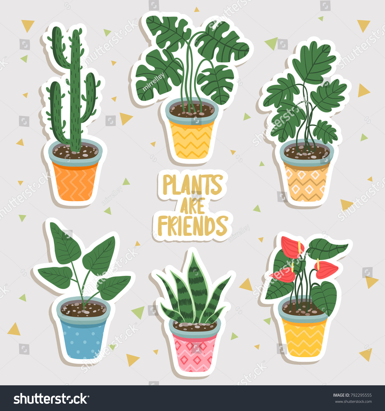 Home plants stickers set different house plants into pots can be used like sticker