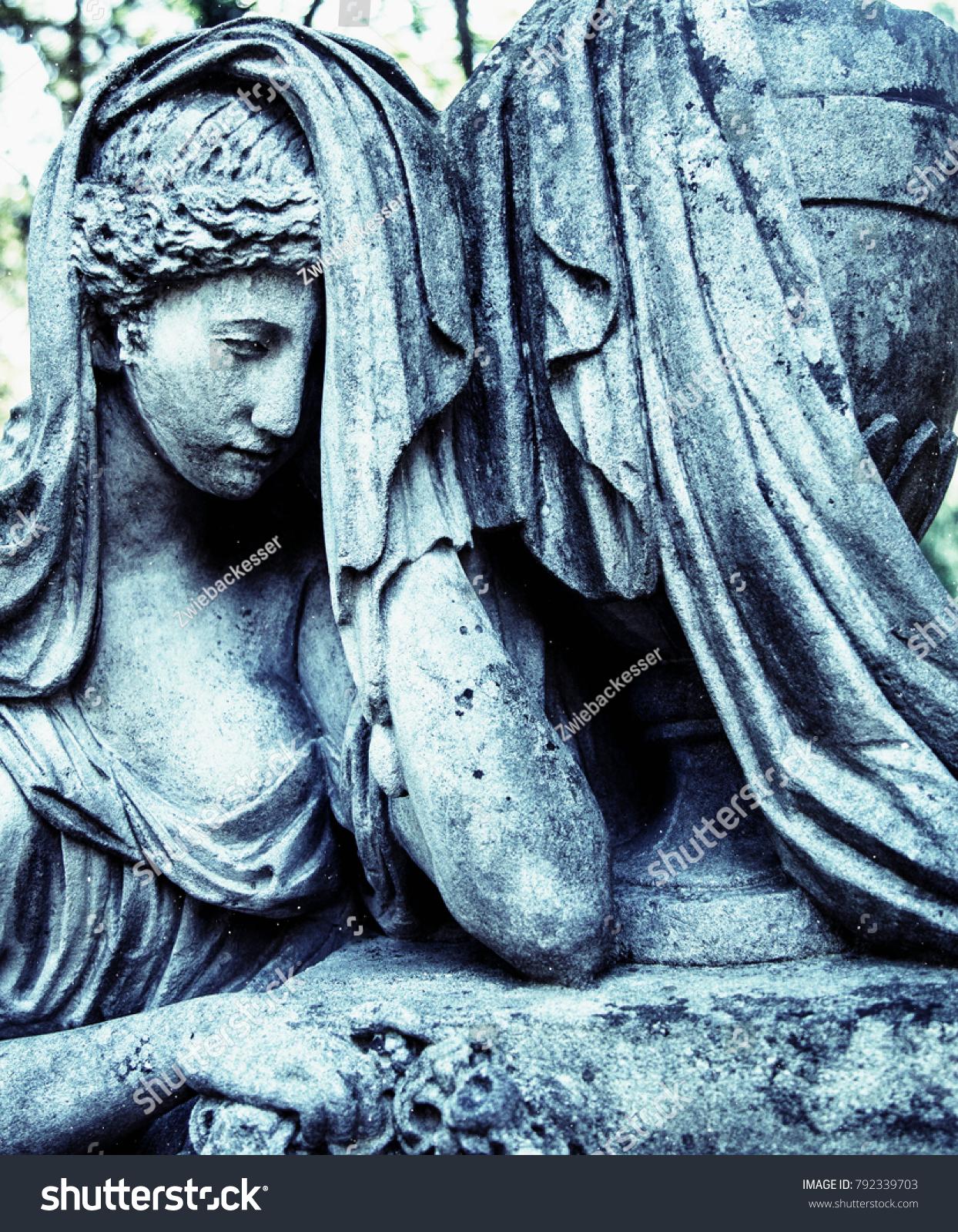 Statue Woman On Tomb Symbol Depression Stock Photo Image Royalty