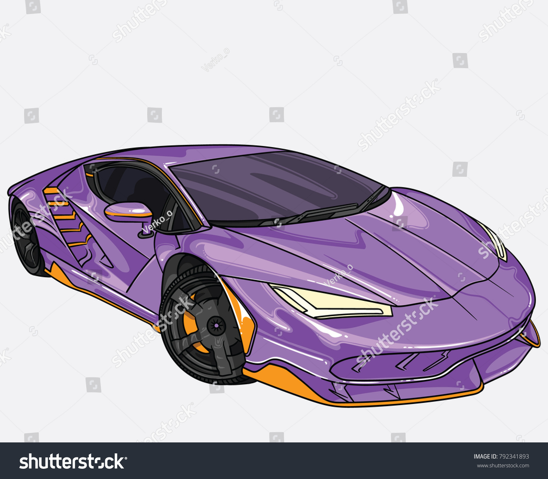 Vector Illustration Purple Lamborghini Car Separate Stock Vector