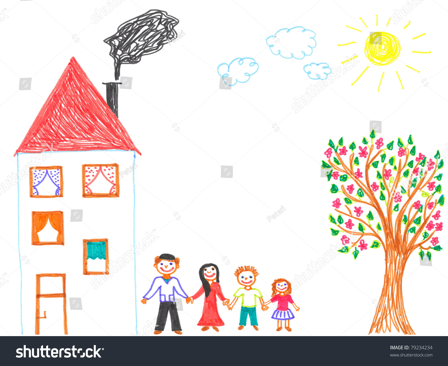 Childs drawing happy family father mother stock illustration 79234234 shutterstock - Houses for families withchild ...
